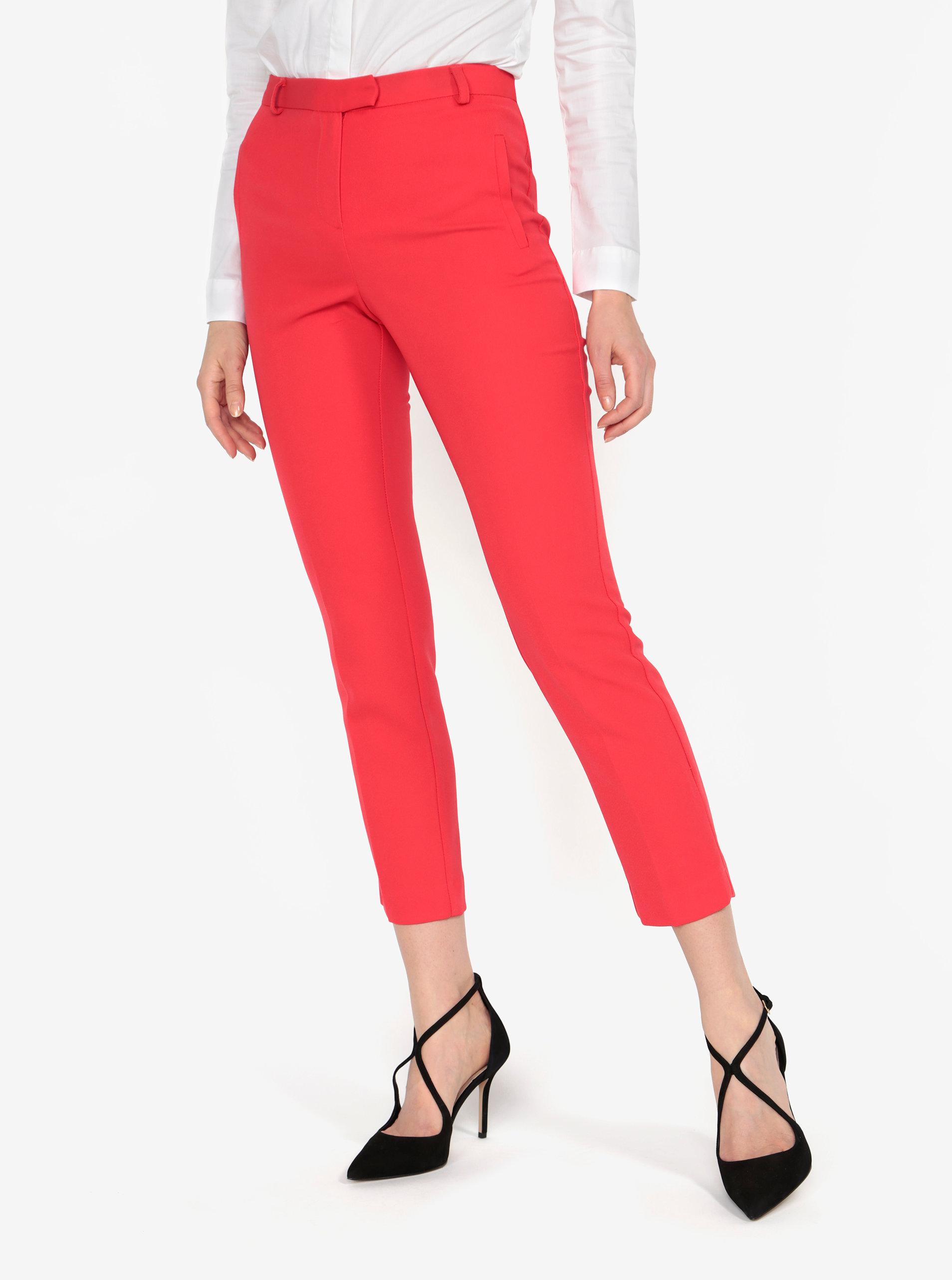 Červené kalhoty s vysokým pasem Miss Selfridge ... 52d85d7509