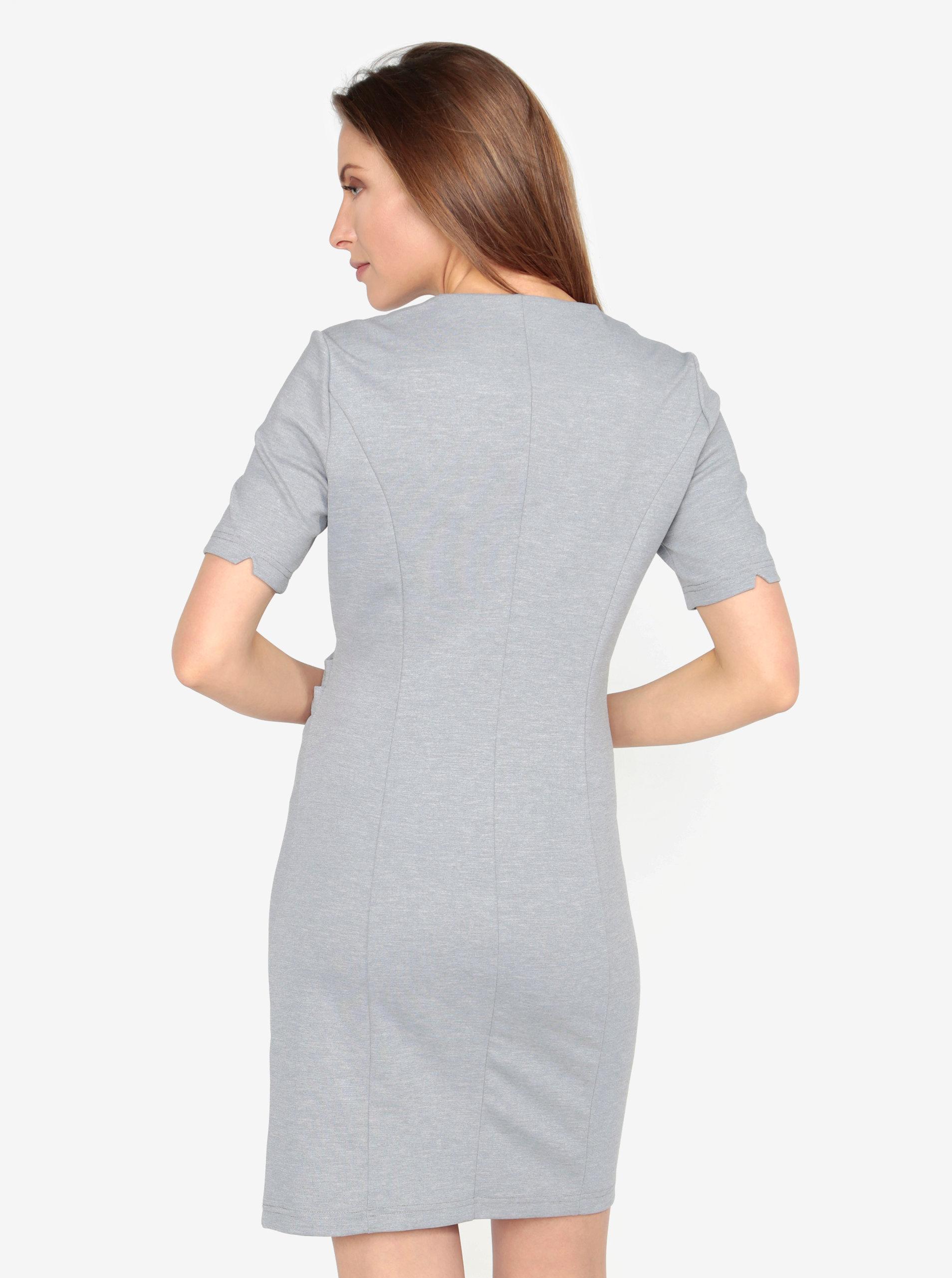 8c5c755ebc97 Svetlosivé melírované šaty s véčkovým výstrihom a riasením VERO MODA Jenny  ...