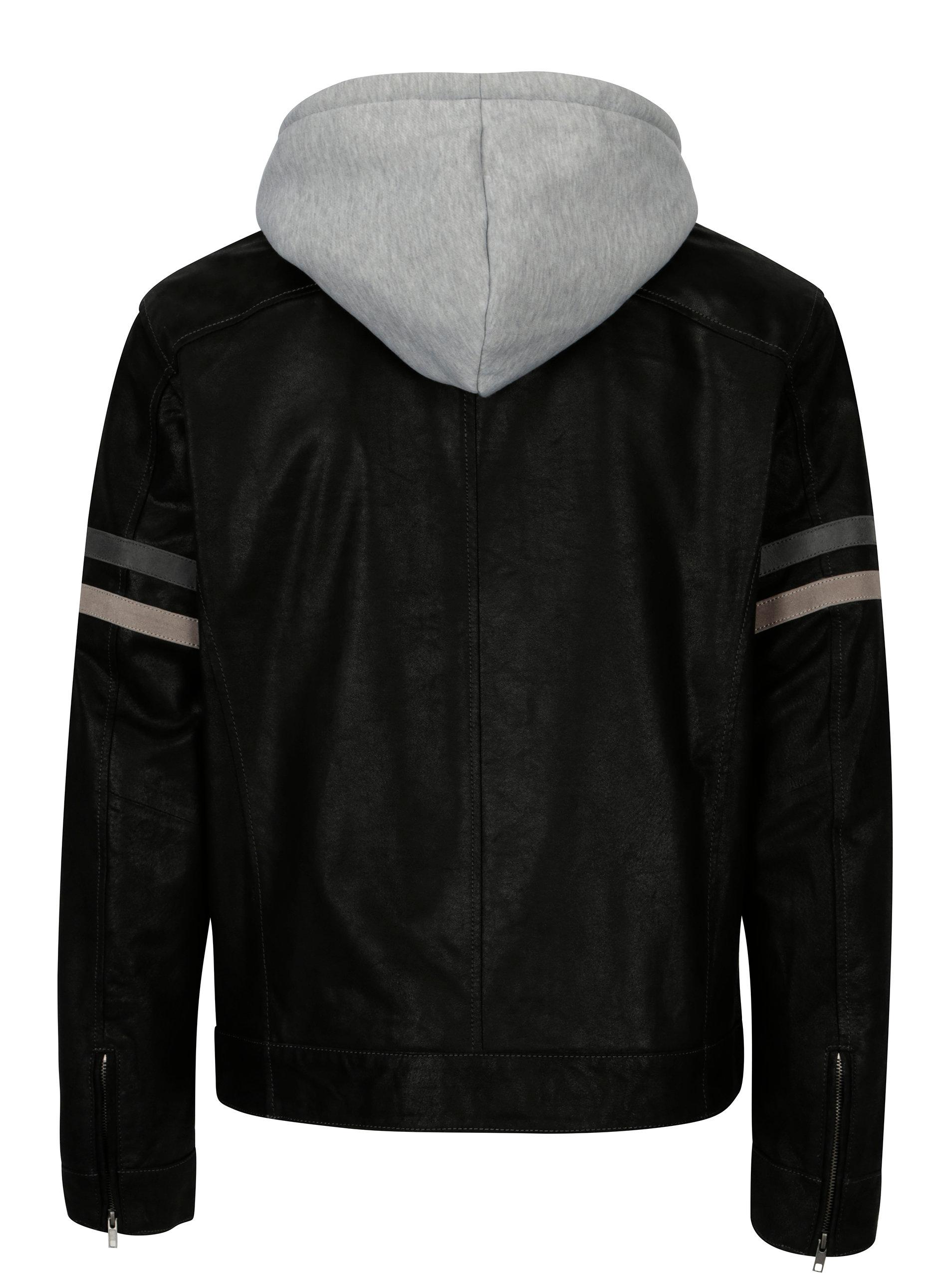 b3d7997147 Černá pánská kožená bunda s kapucí KARA Eric B ...