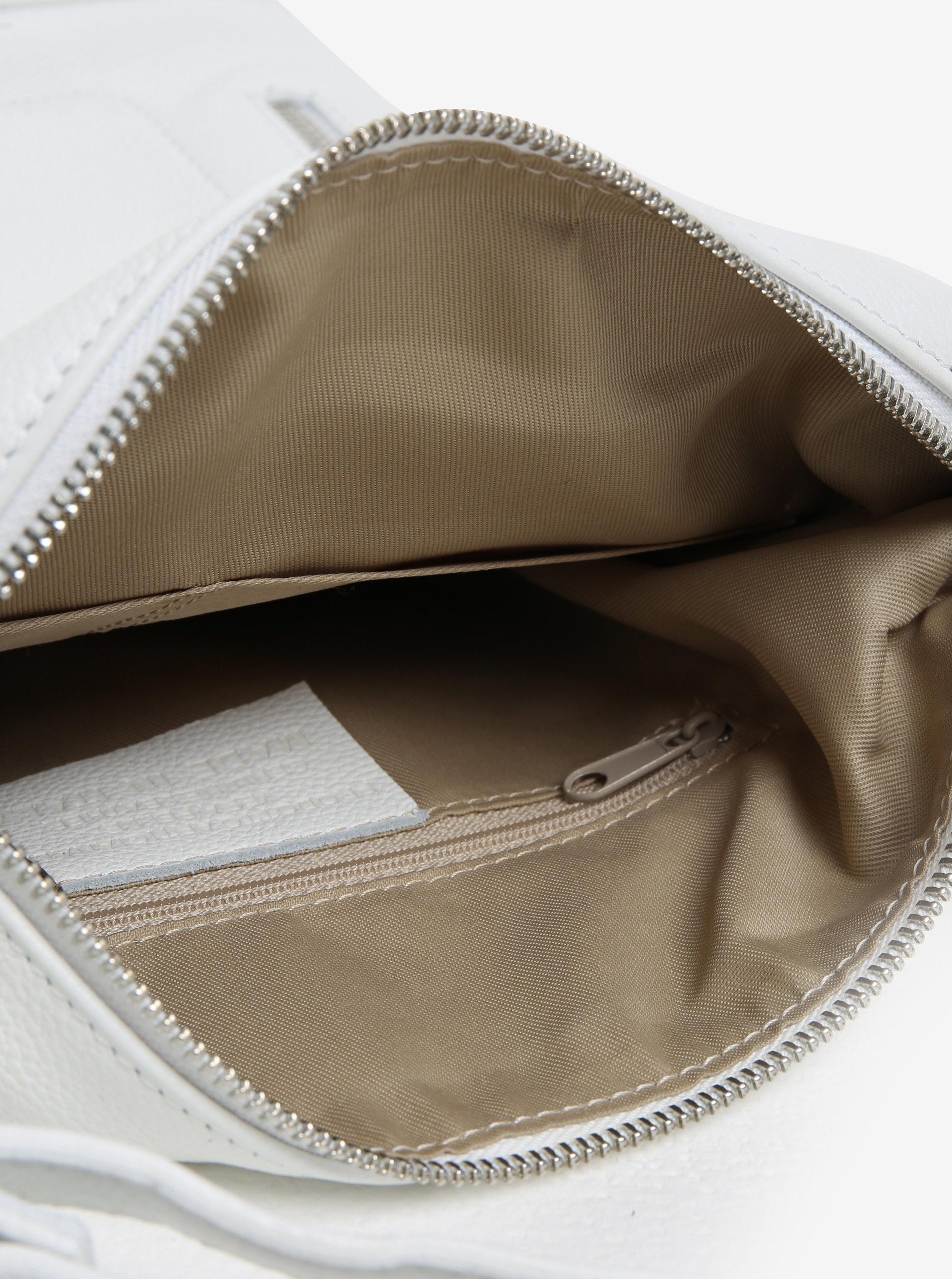 Biela dámska kožená kabelka s vreckami KARA ... d70fcd0c347