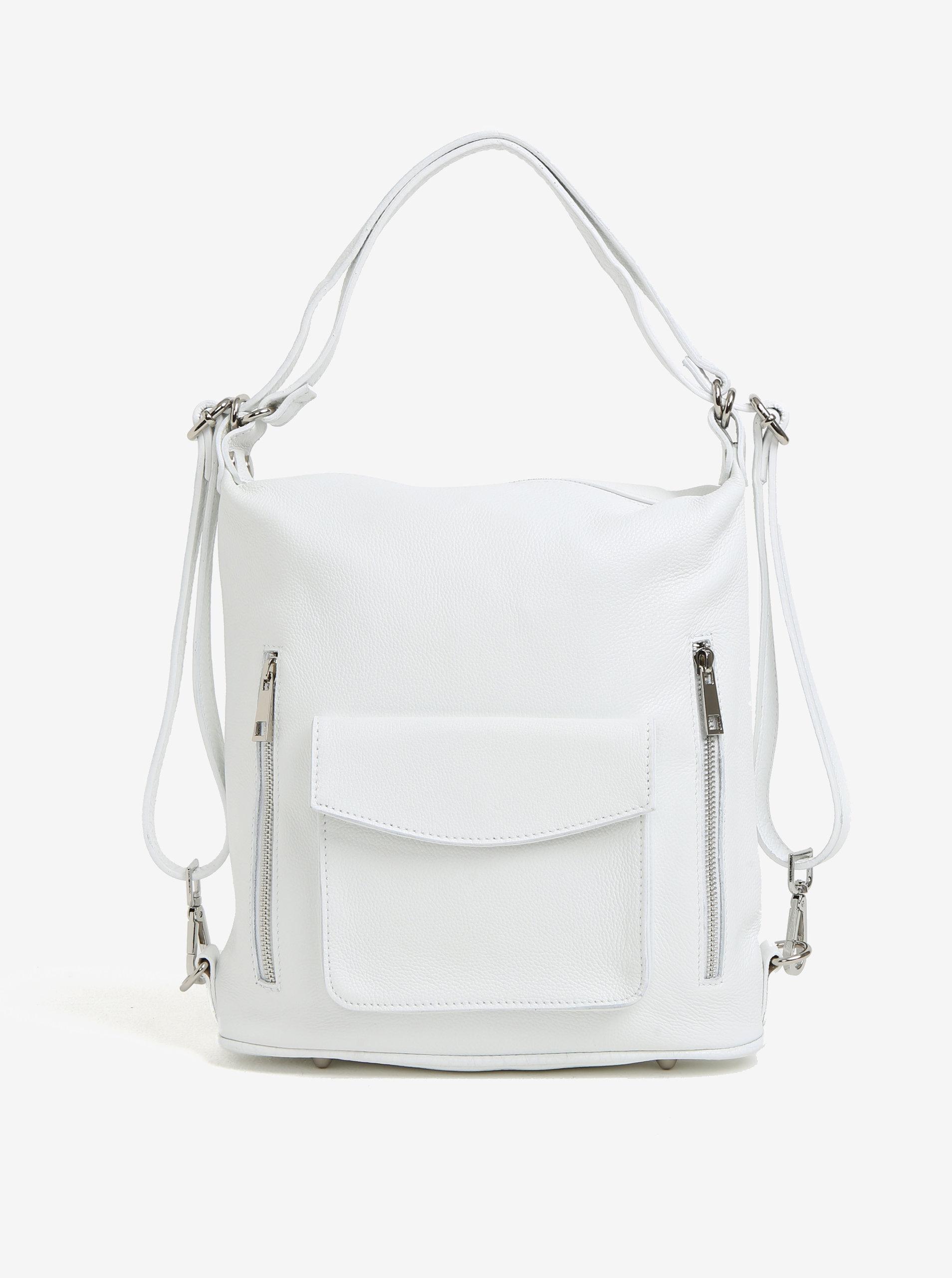 bd980d4308 Bílá dámská kožená kabelka s kapsami KARA ...