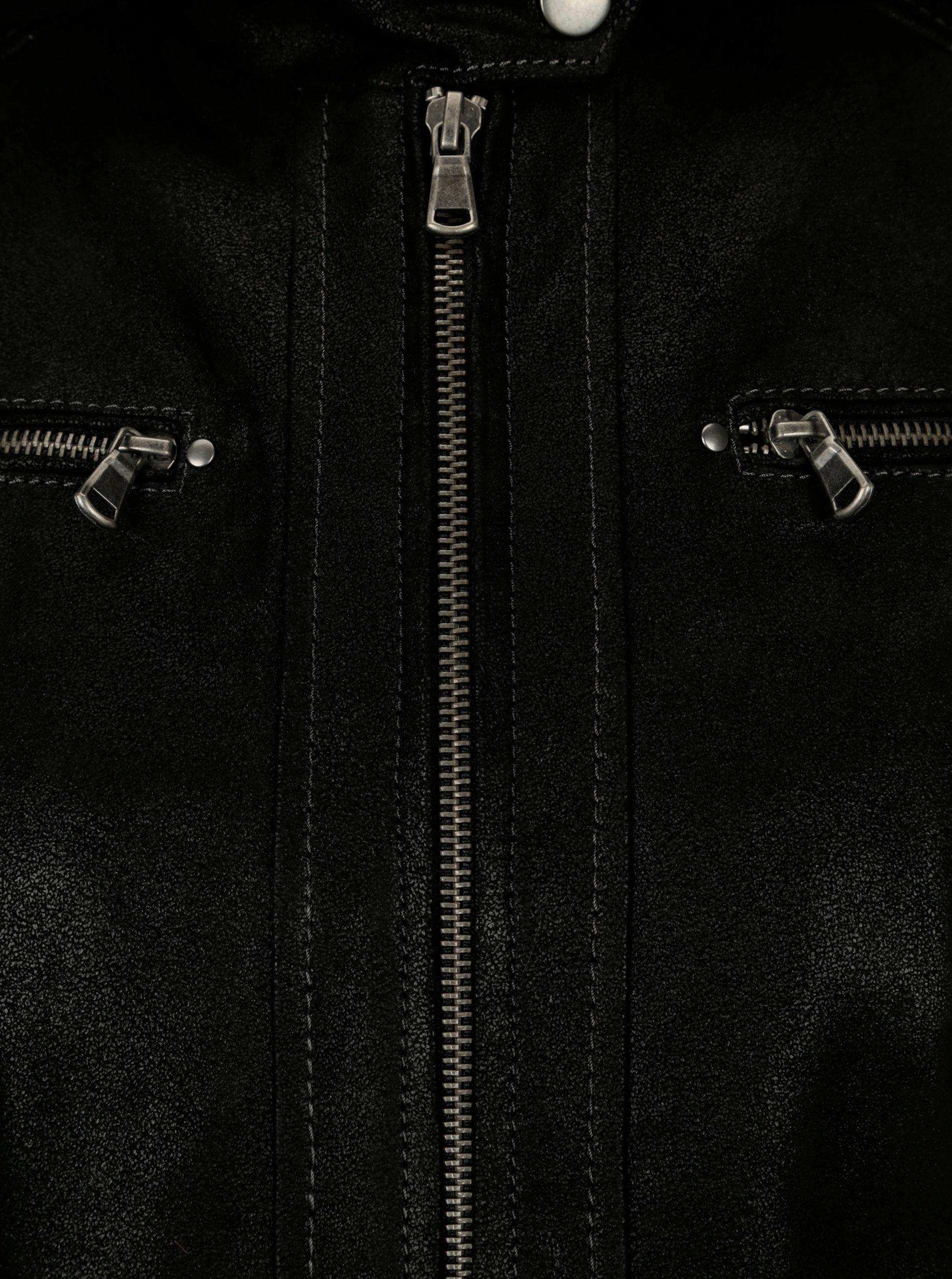 Černá dámská kožená bunda s kapucí KARA Maria ... dd2b6c43381