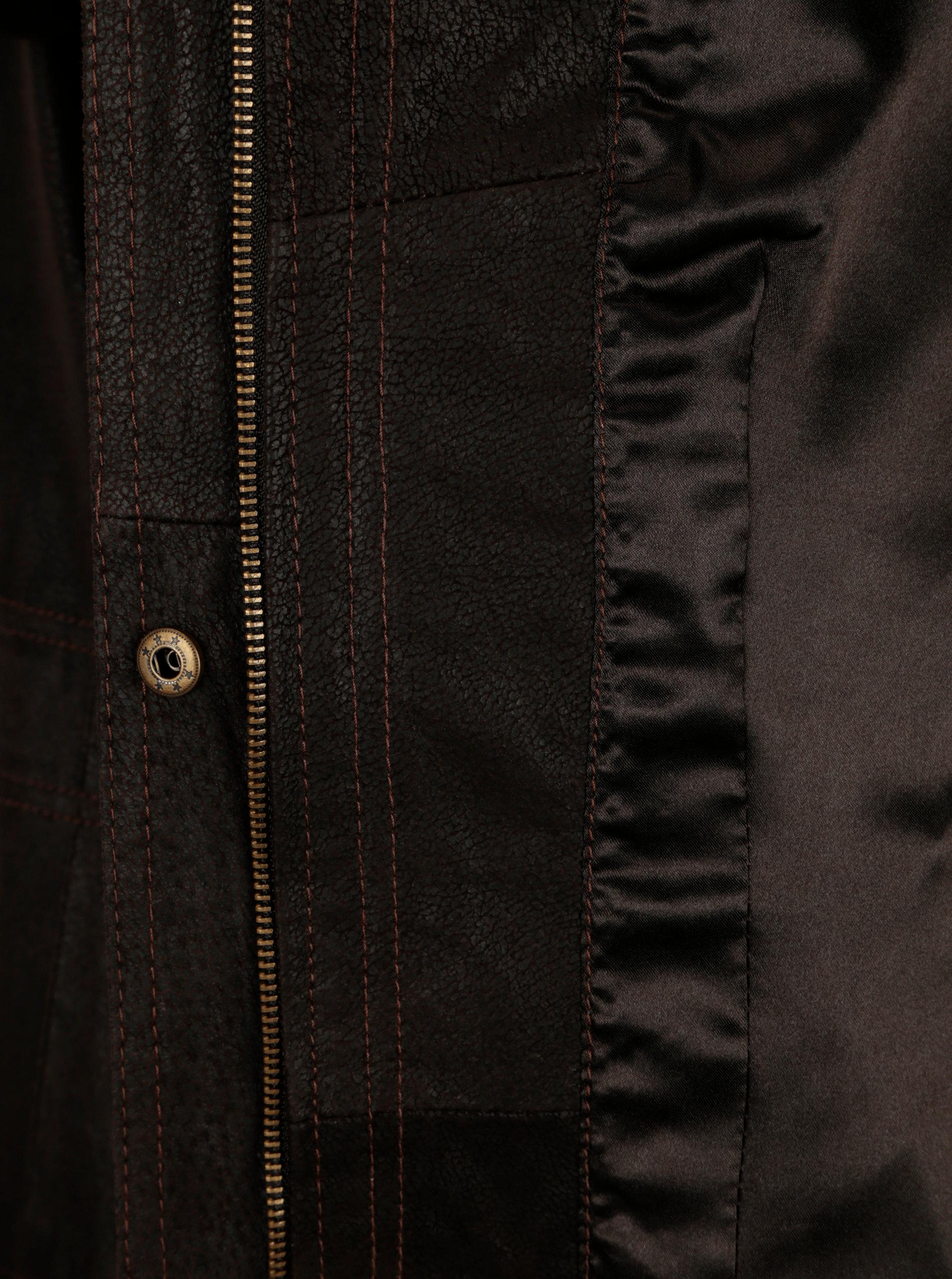 Tmavě hnědá dámská kožená bunda kapucí KARA Dominika B ... 34099c55ee4