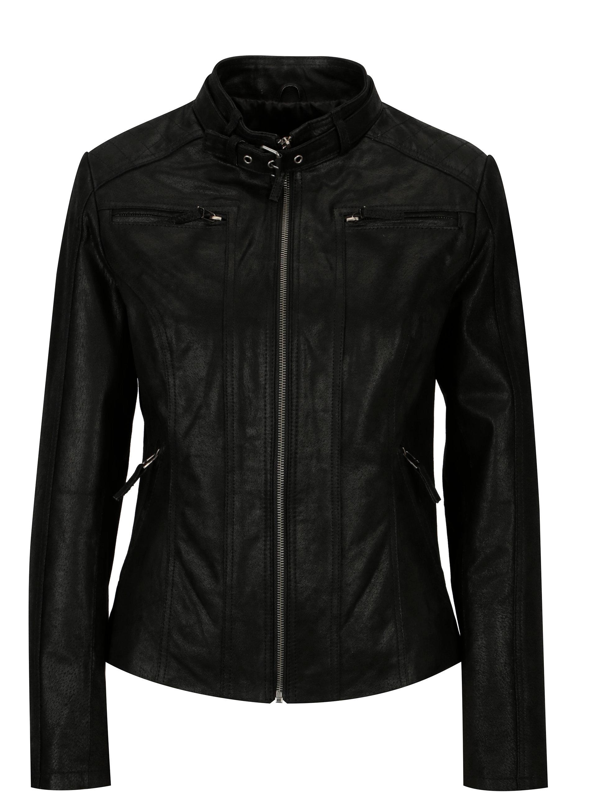 Čierna dámska kožená bunda s prackou KARA Diva ... 47d44a00dc5