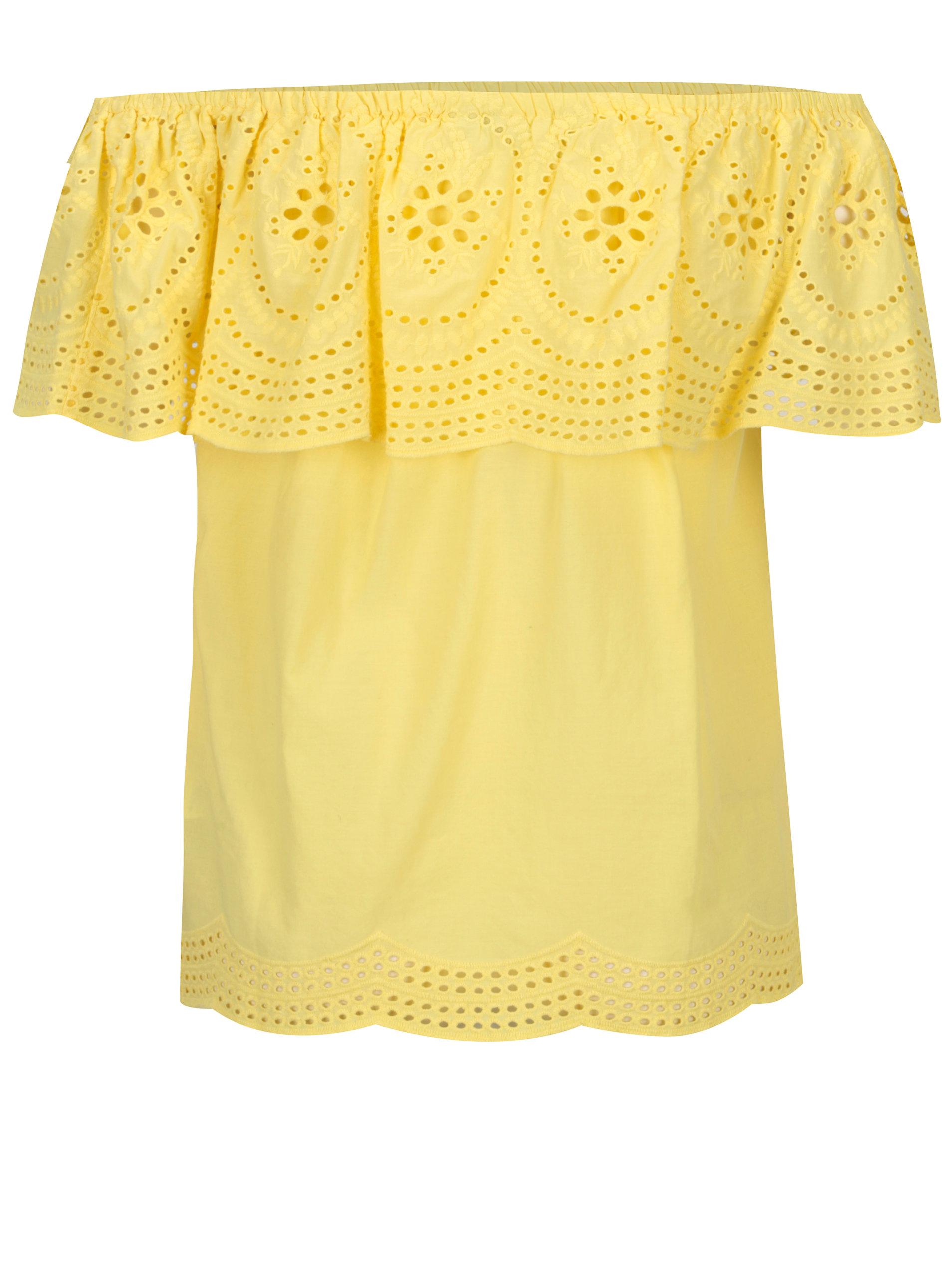 4a0919cc5fc9 Žltá blúzka s čipkou a odhalenými ramenami Dorothy Perkins ...