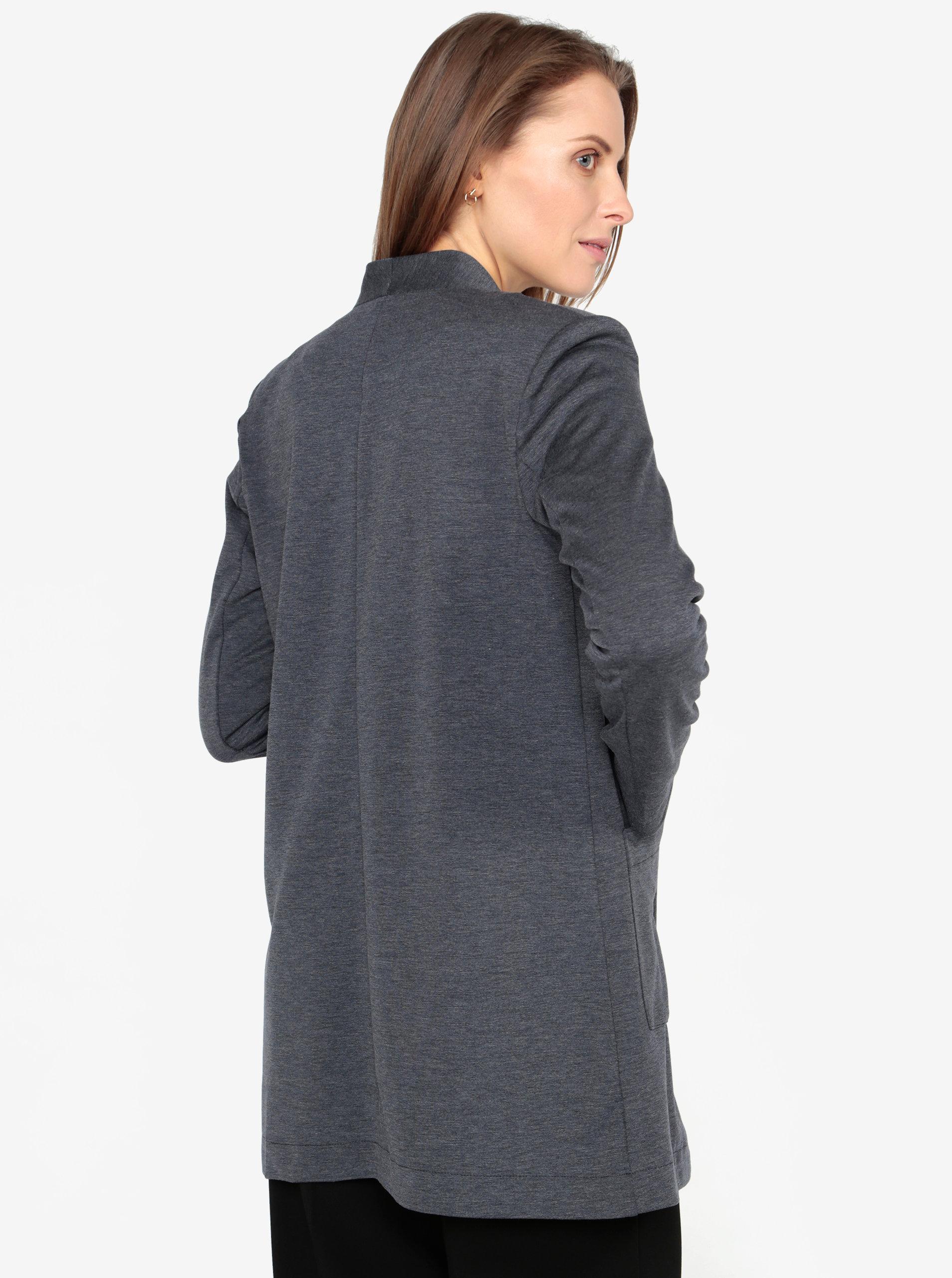 Tmavě modré dlouhé sako s kapsami VERO MODA Jenny ... f7010684310