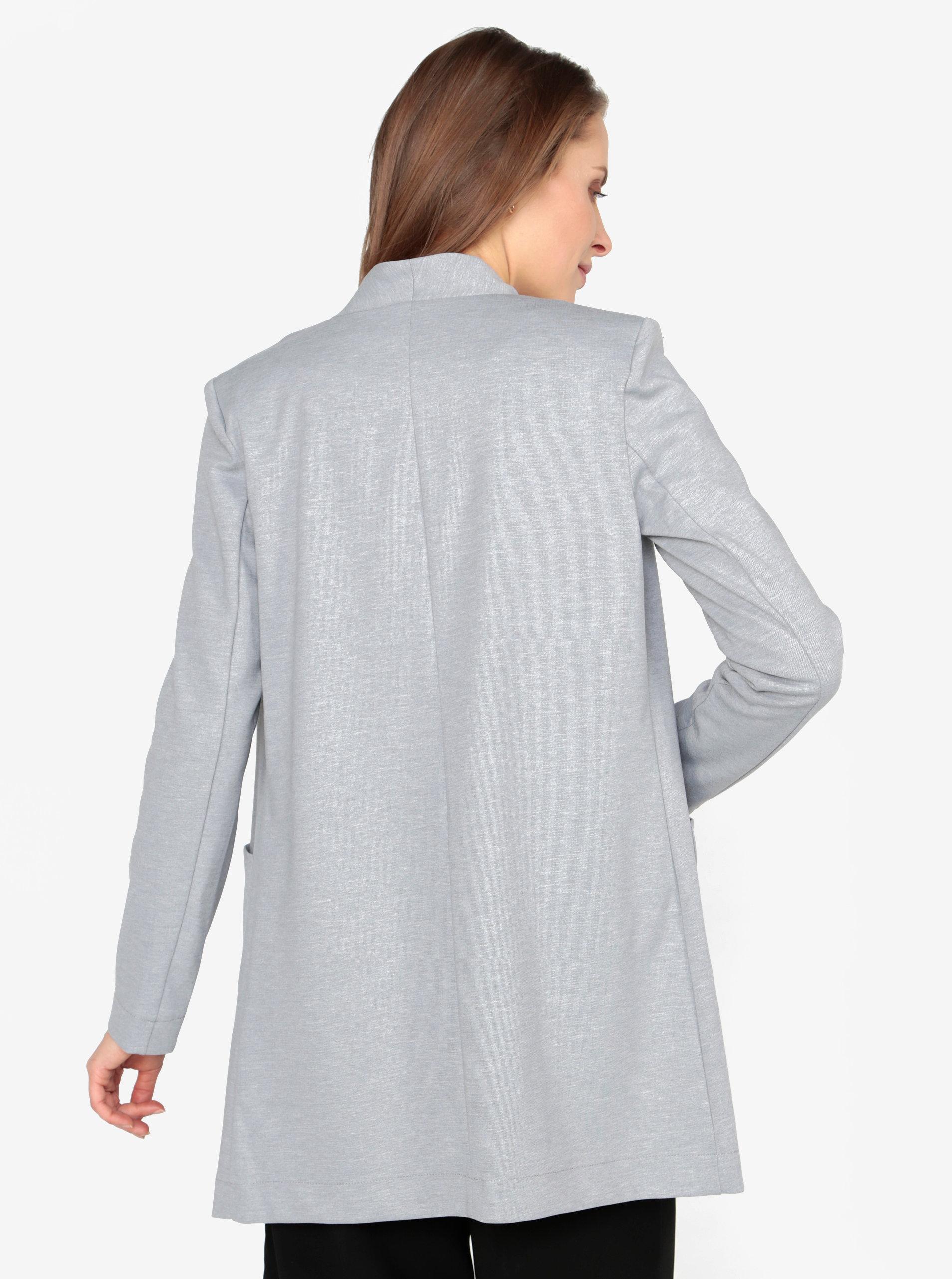 90e171ef2206 Svetlosivé melírované dlhé sako s vreckami VERO MODA Jenny ...