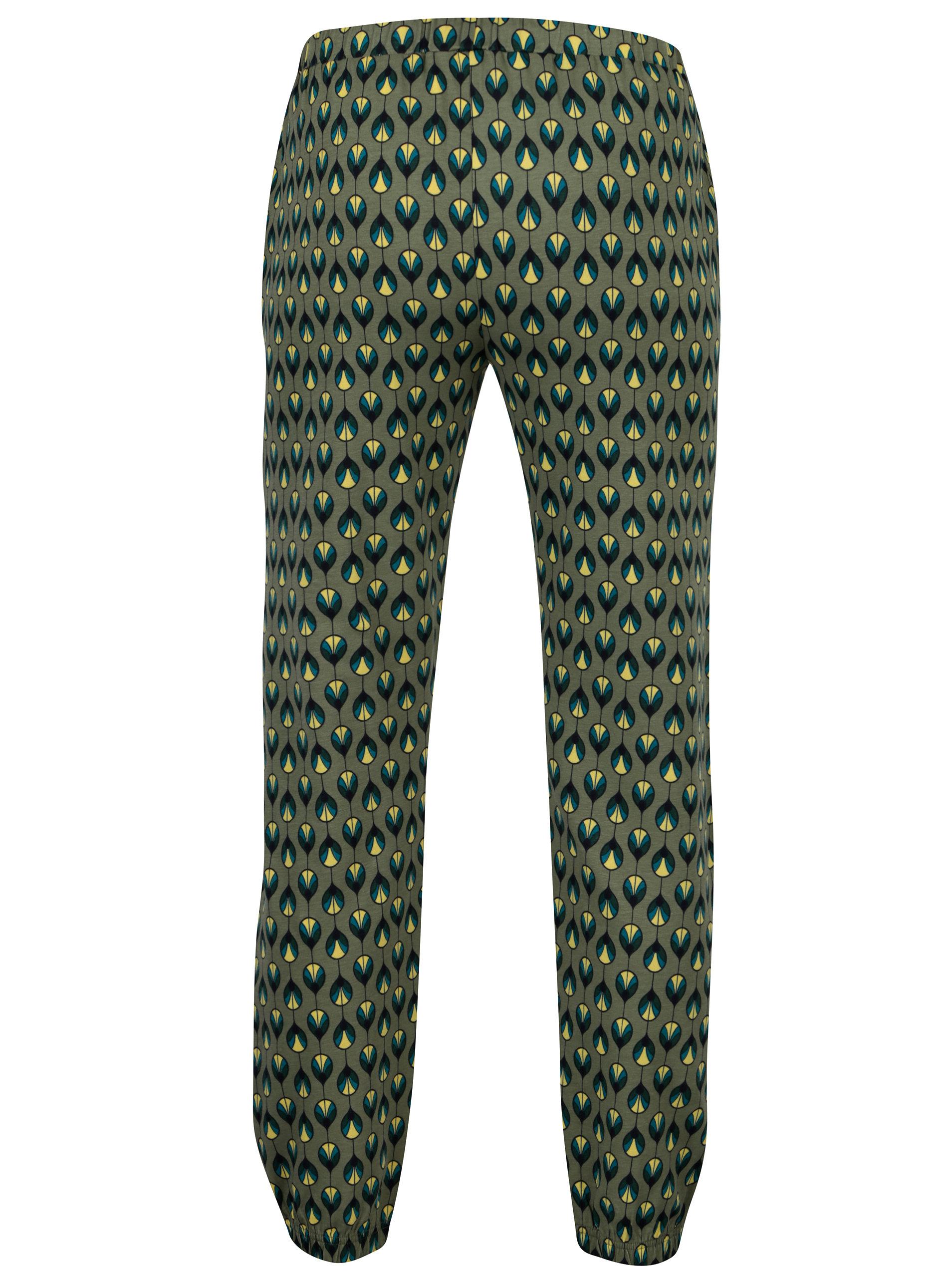 Khaki vzorované tepláky Tranquillo Hebe Khaki vzorované tepláky Tranquillo  Hebe ... 3cf5bf30ce