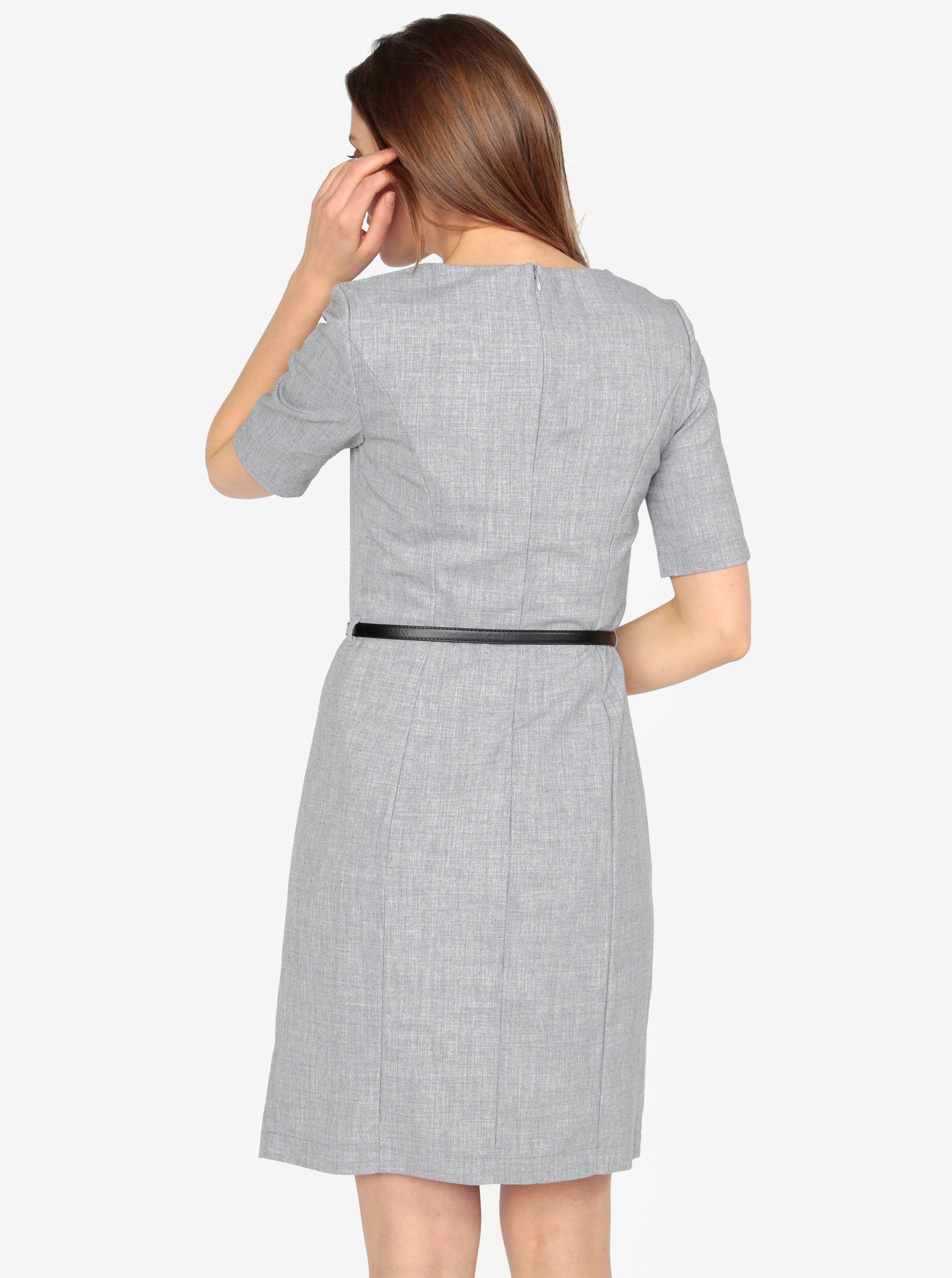 73dc92186ae Šedé žíhané šaty s páskem VERO MODA Olivia ...
