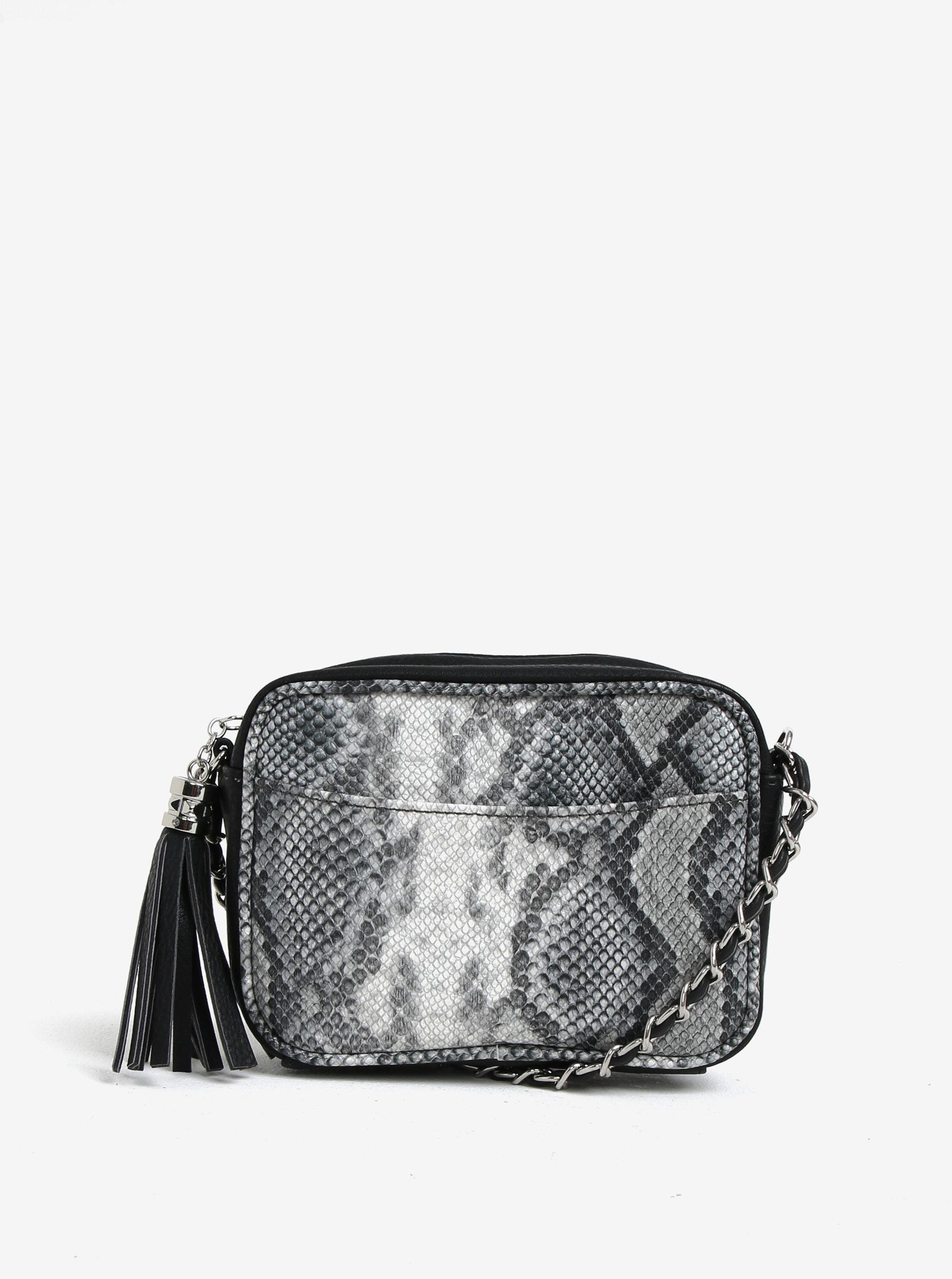 8186ab8626 Šedo-černá malá crossbody kabelka s hadím vzorem VERO MODA Snakee ...