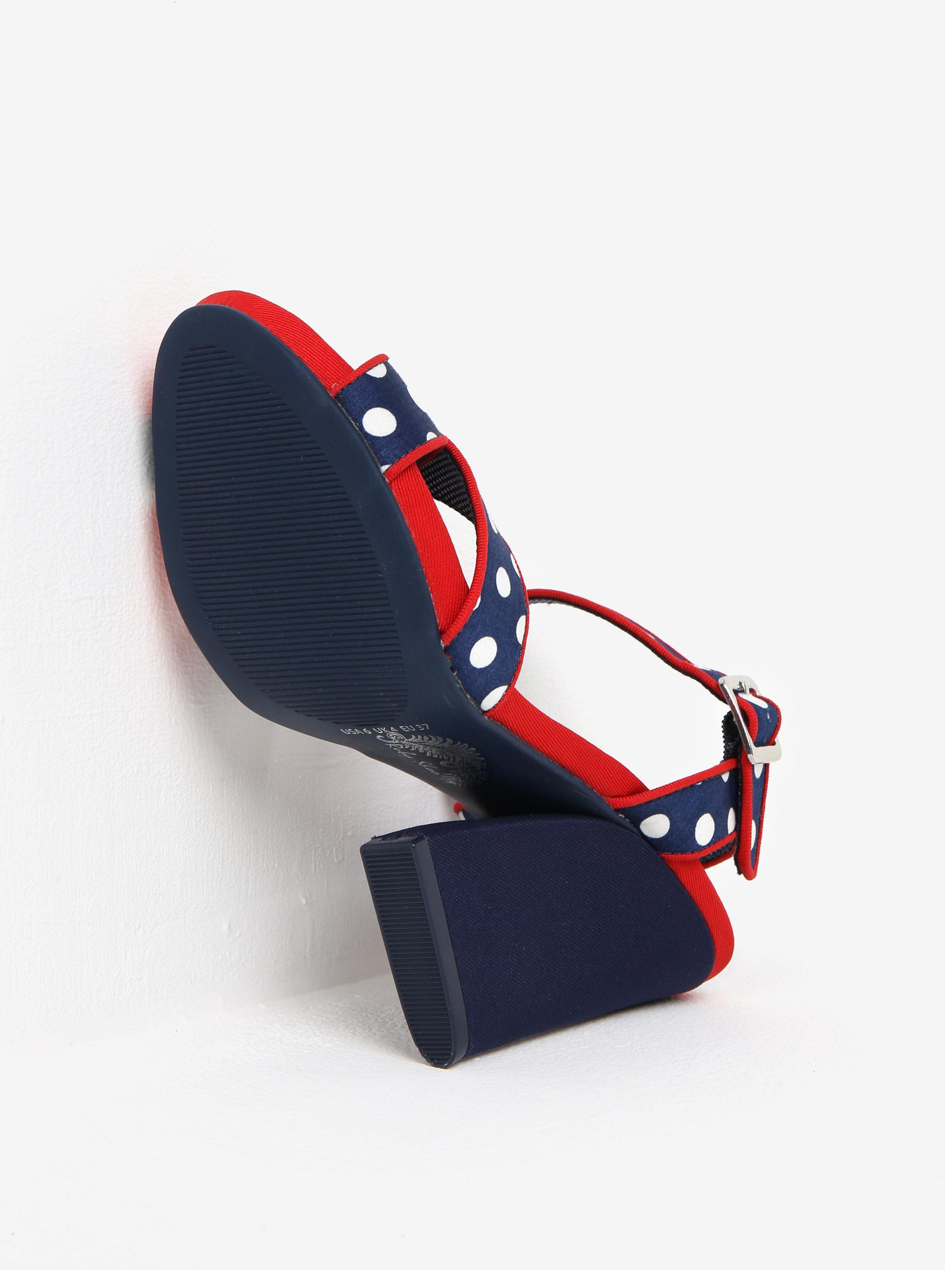 d022aaa6f636 Tmavomodré bodkované sandále na širokom podpätku Ruby Shoo Evie ...