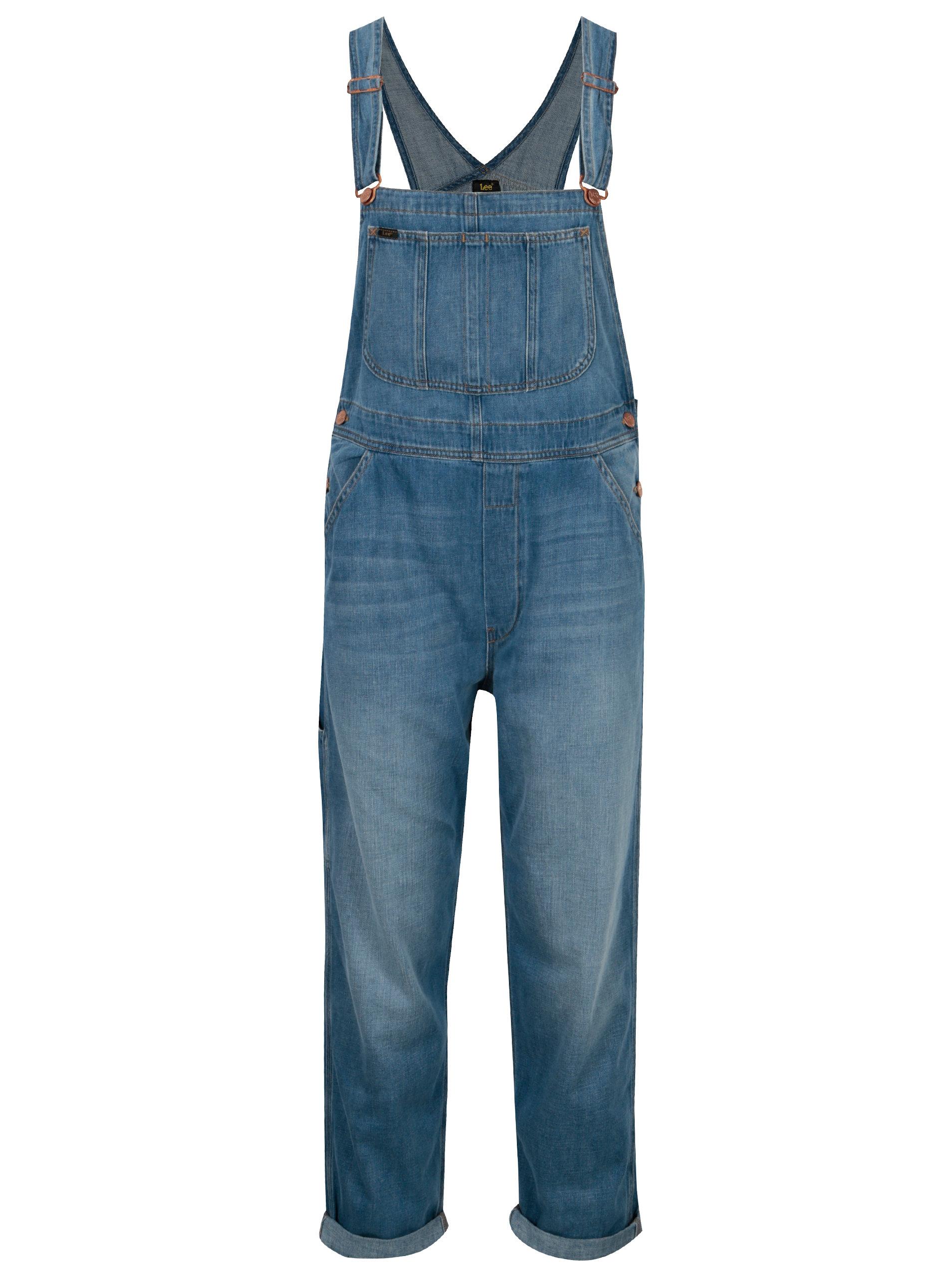 Modré dámské džínové lacláče s vysokým pasem Lee Loose ... 12098257b9