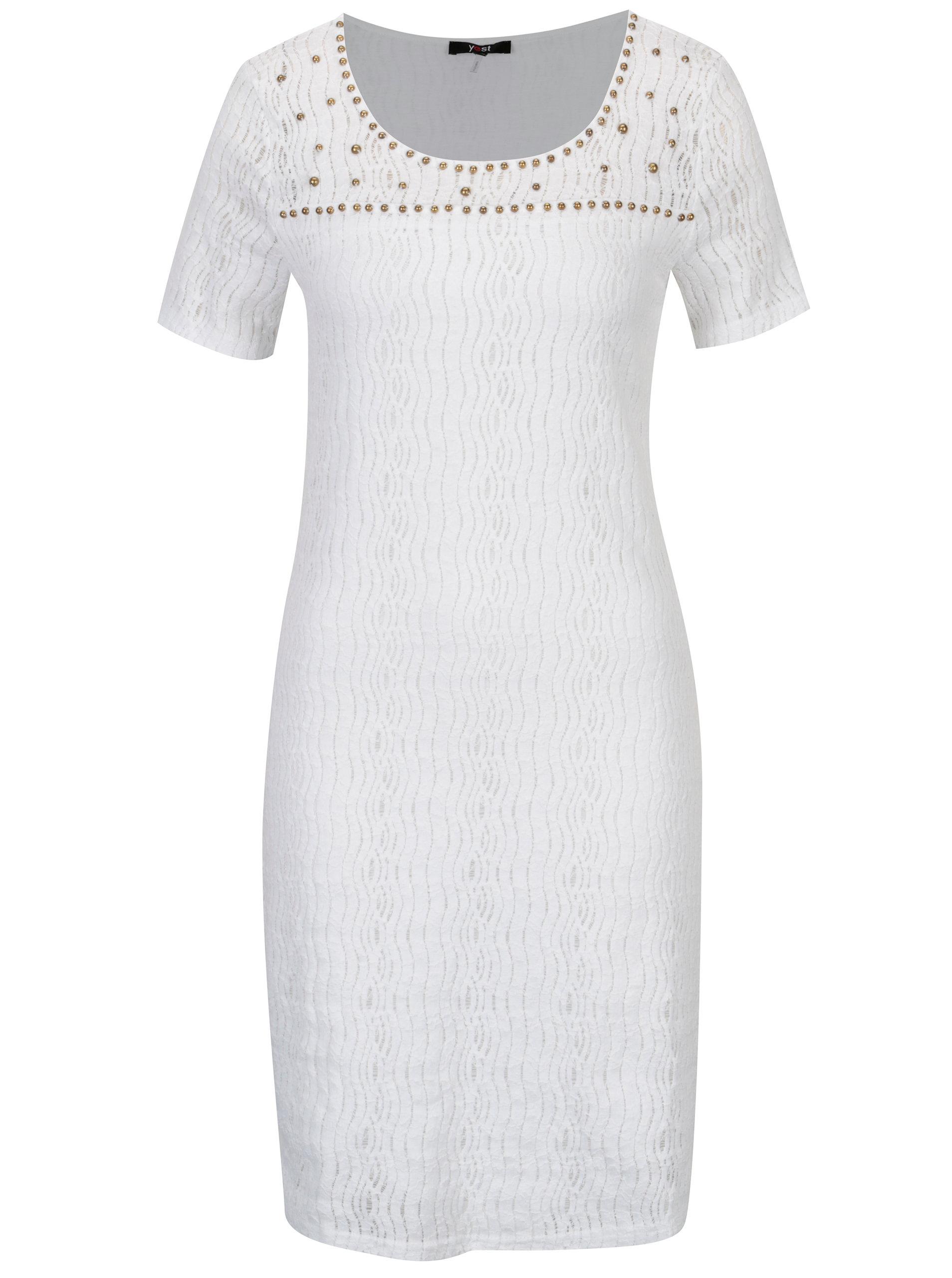 Bílé krajkové šaty s korálkovou aplikací YEST ... e97e8a512e