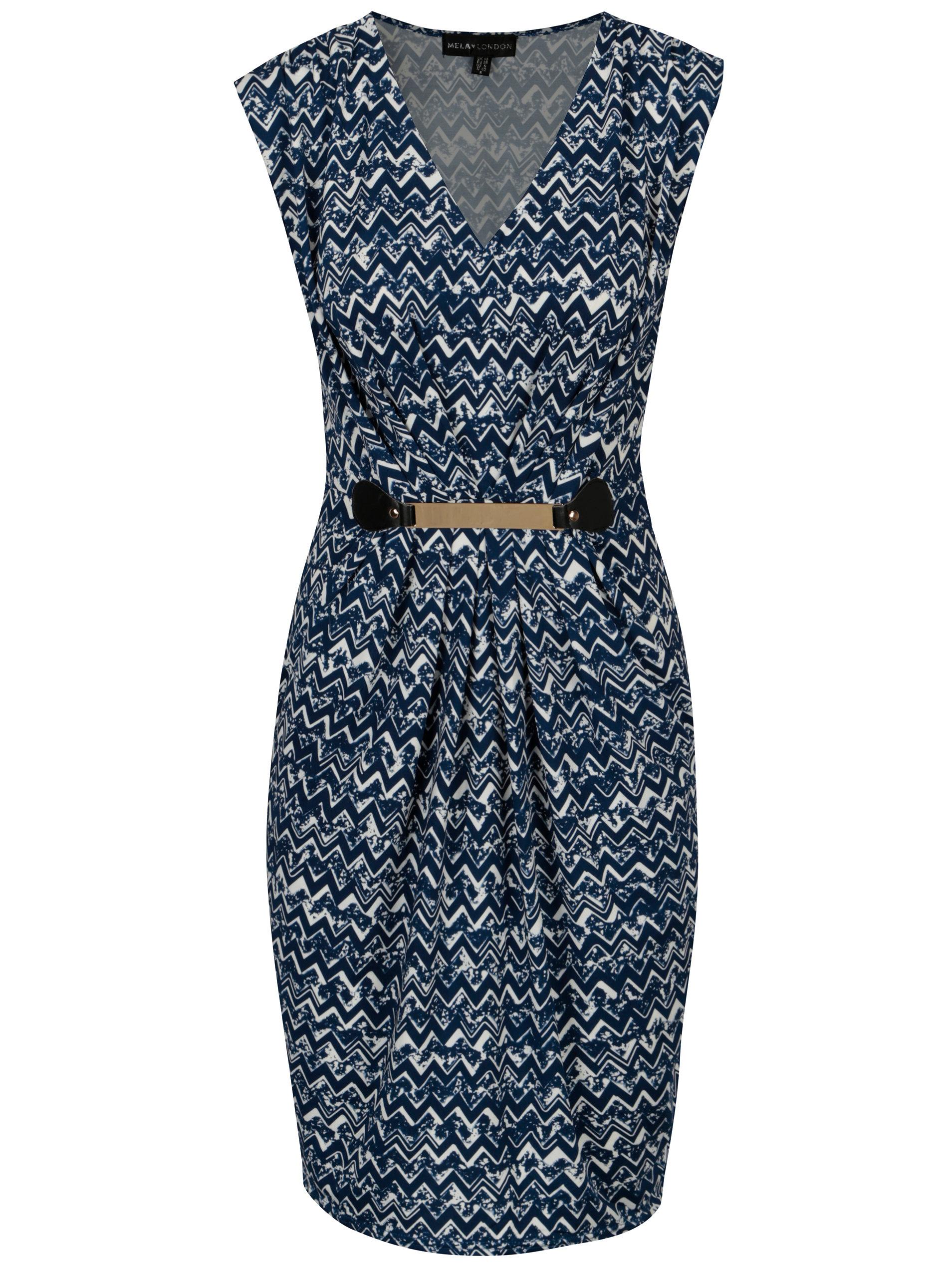 Bielo-modré vzorované šaty s kovovou aplikáciou Mela London ... c1f9ccaebb