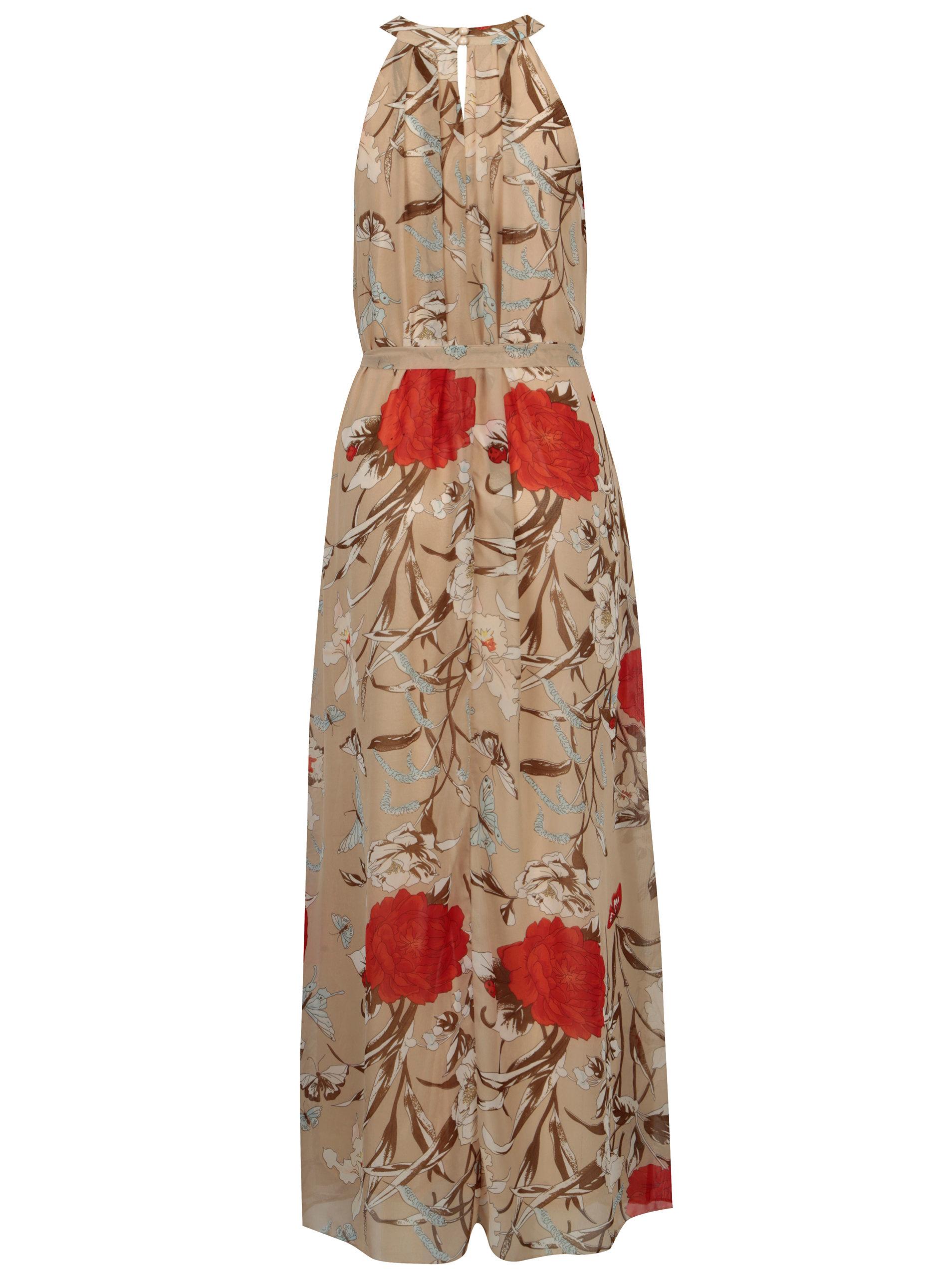 Béžové kvetované maxišaty s opaskom Mela London ... 87a000b3c71