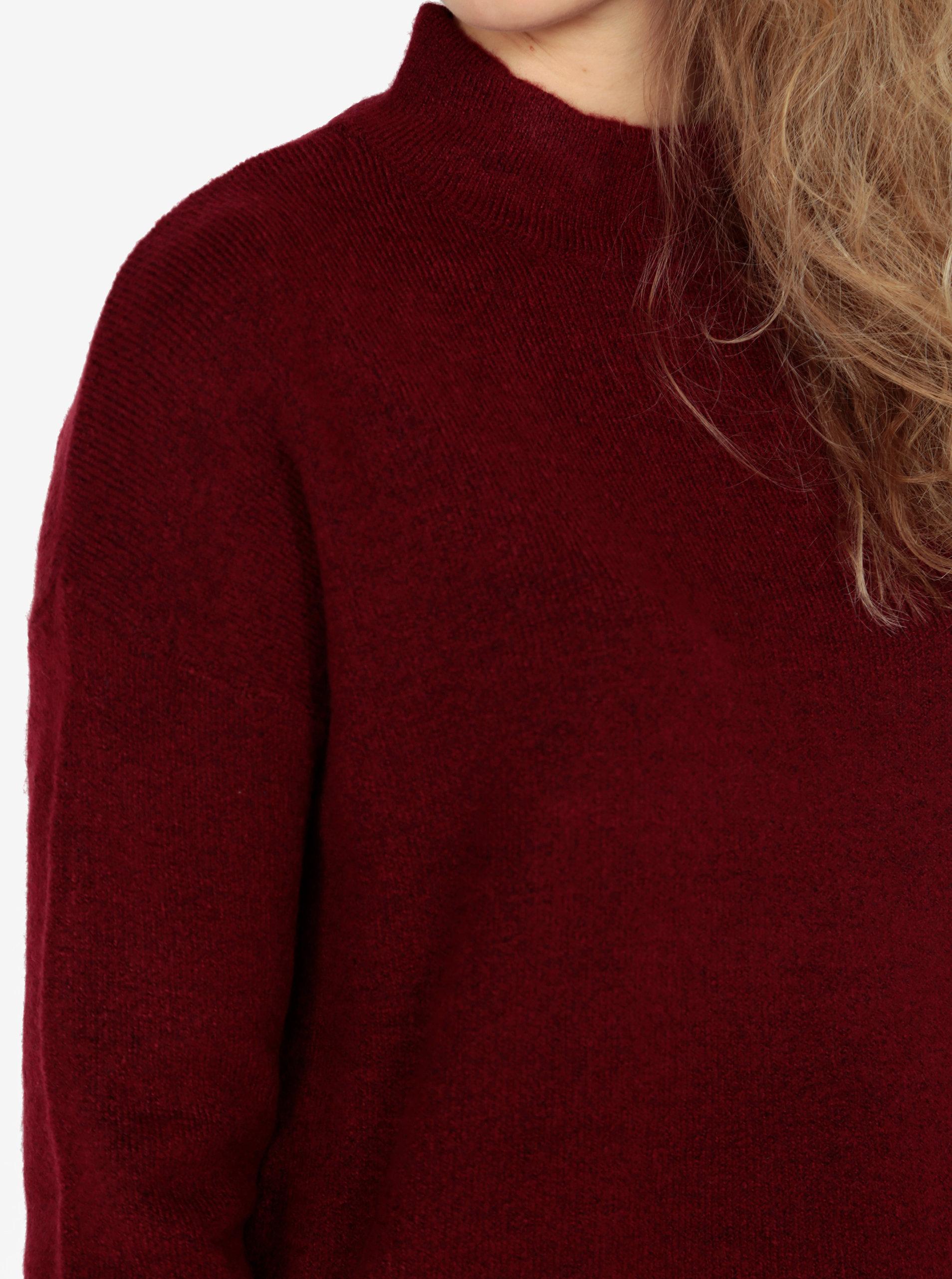8e70bbfba954 Vínový dámsky sveter so stojačikom QS by s.Oliver