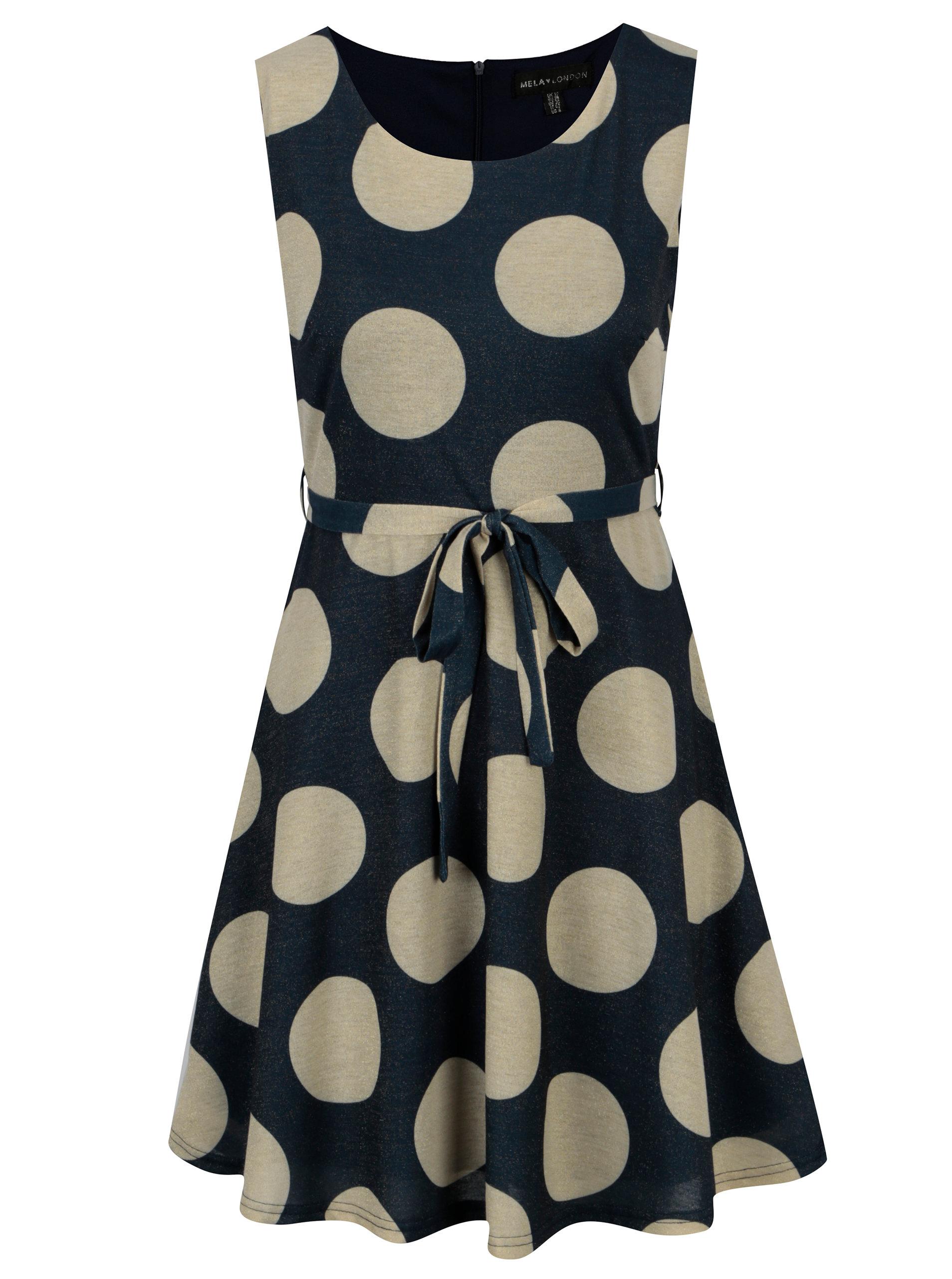 d6e6c4d15d2a Zlato-modré šaty s puntíky a páskem Mela London ...