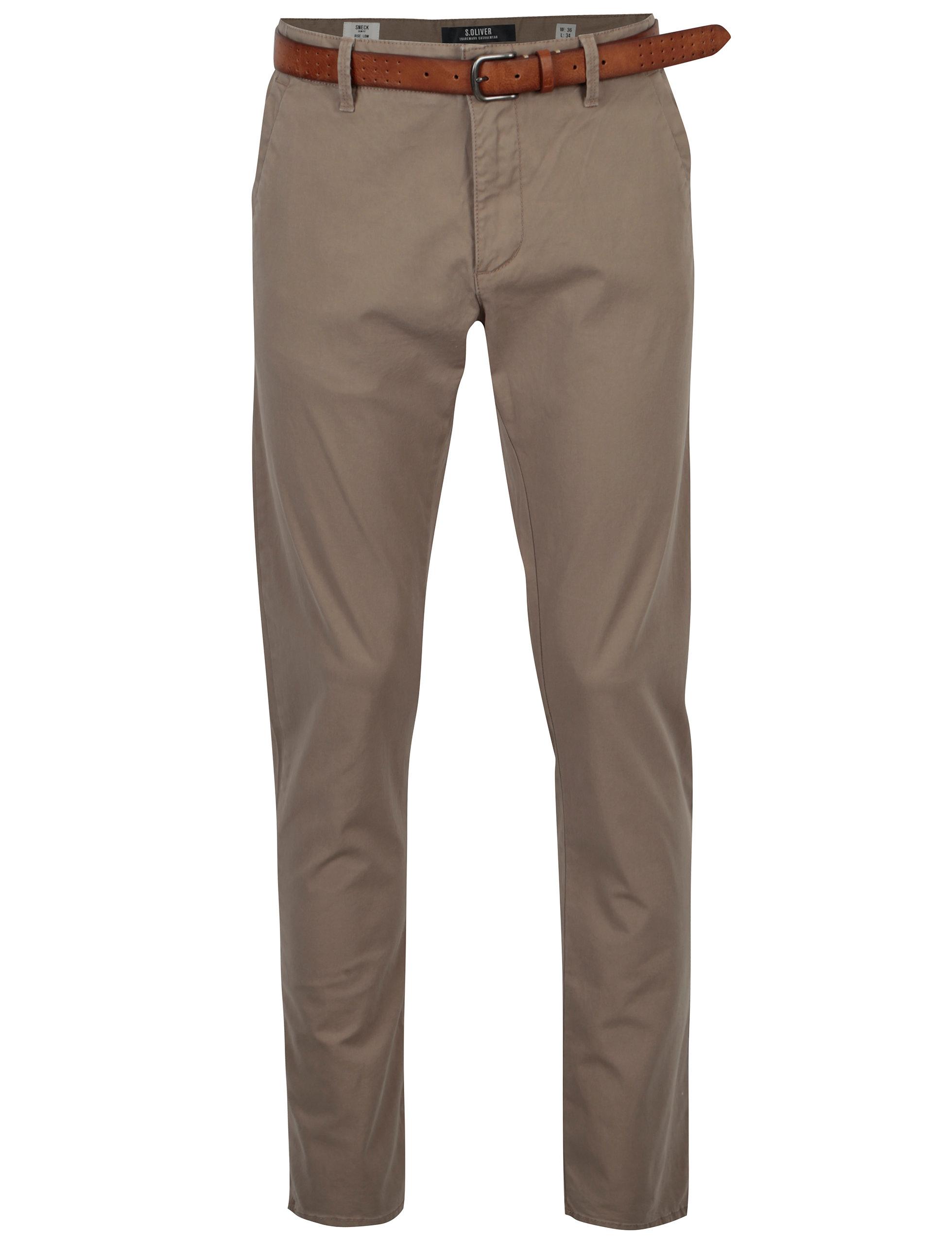 19370bc8d664 Béžové pánske slim fit chino nohavice s opaskom s.Oliver