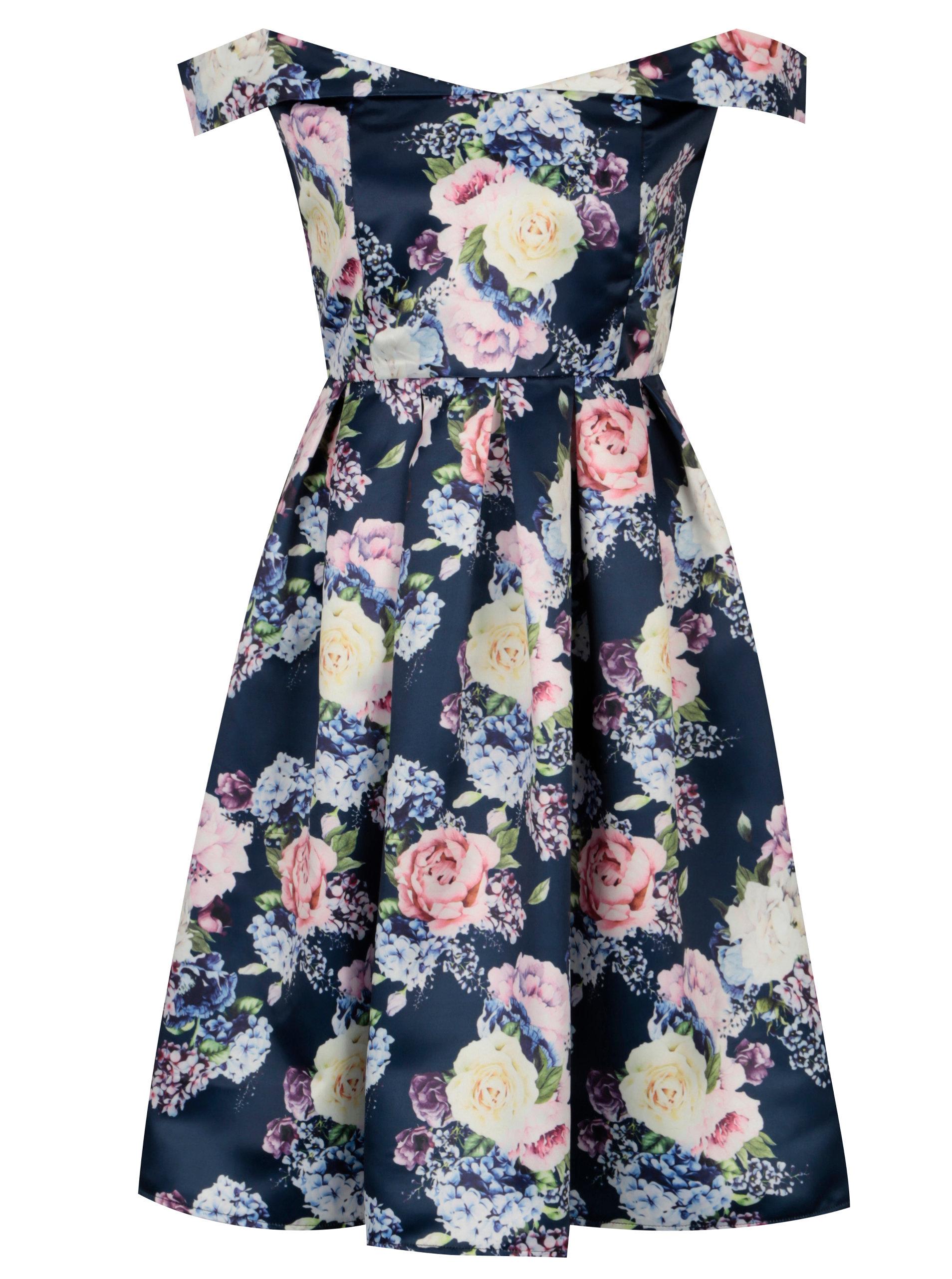 22a5521fa2d2 Tmavomodré kvetované šaty s odhalenými ramenami Mela London ...