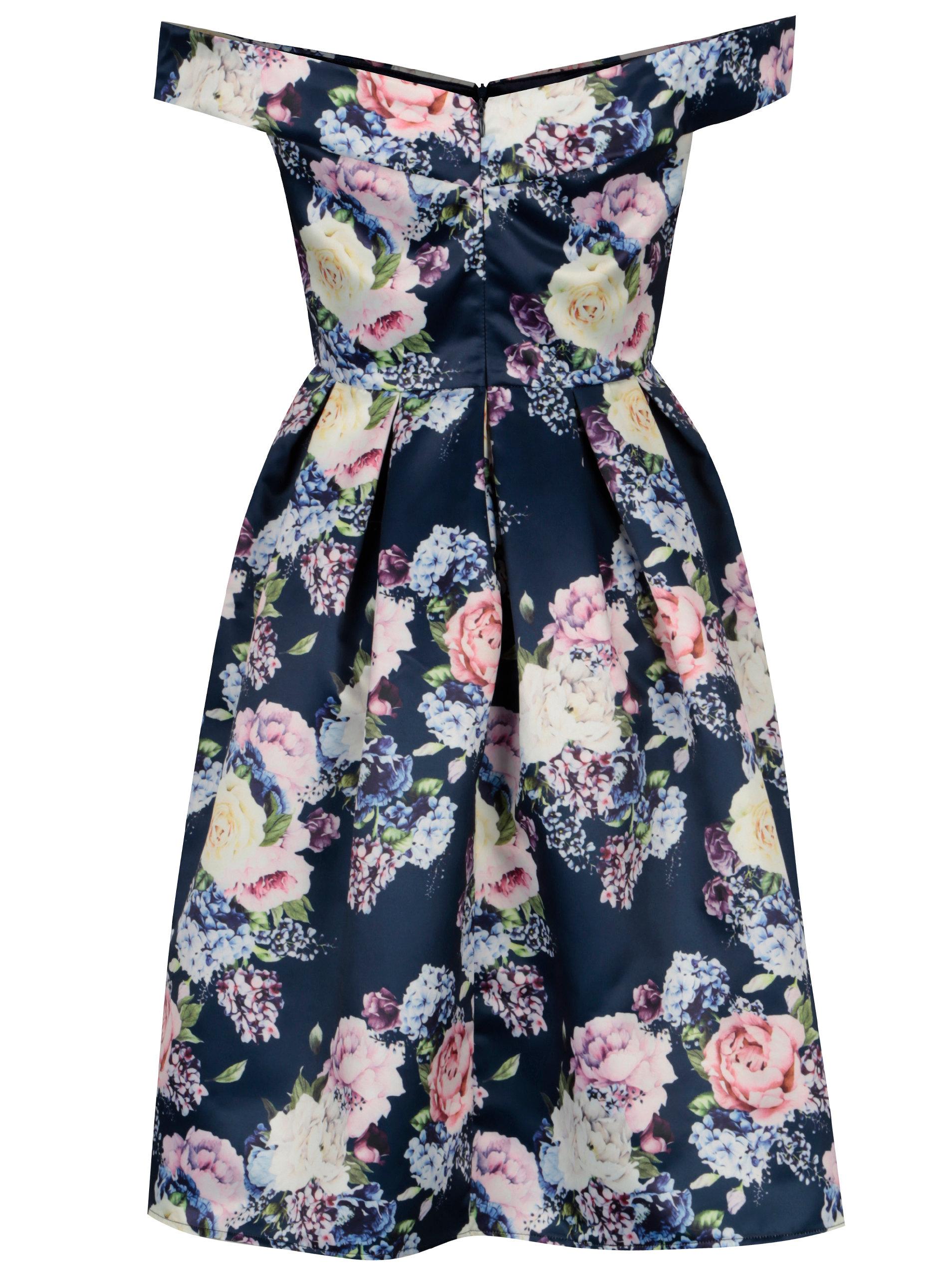 Tmavomodré kvetované šaty s odhalenými ramenami Mela London ... 7b02623f23b