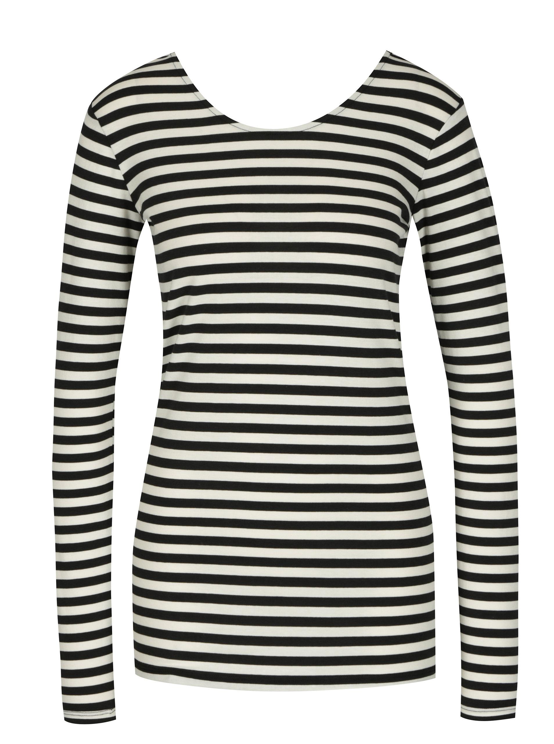 2659e1d1f711 Krémovo-čierne dámske pruhované tričko s dlhým rukávom Gracia Jeans ...