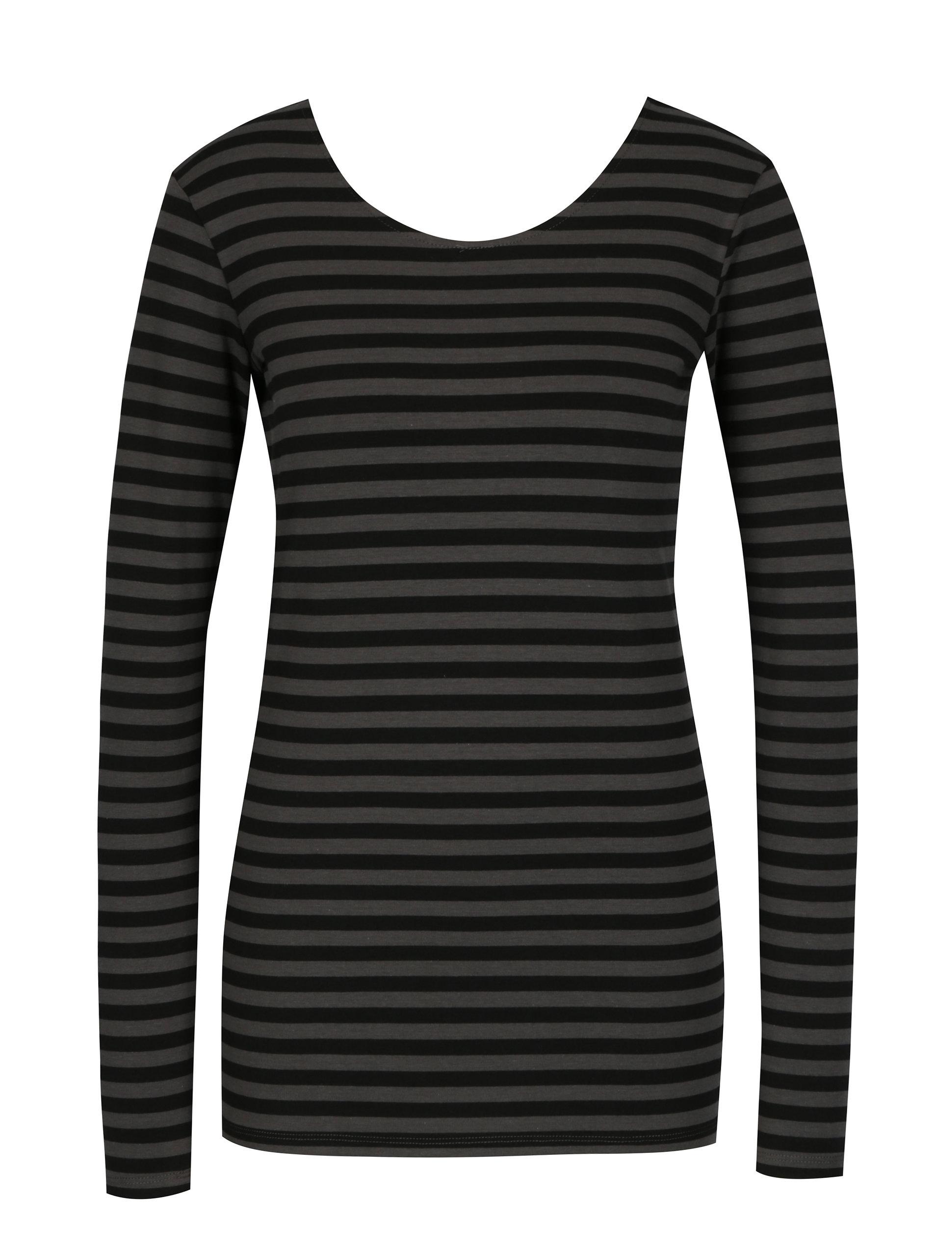 b44d5e7cf6f9 Sivo-čierne dámske pruhované tričko s dlhým rukávom Gracia Jeans ...