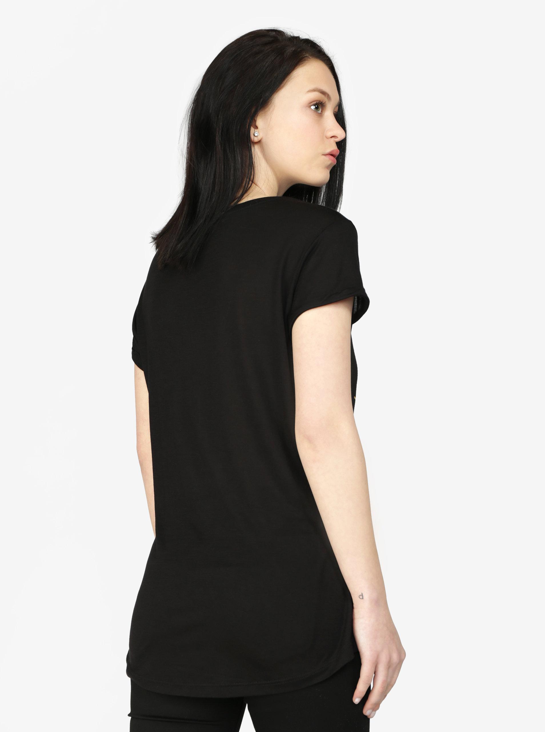 b2d32396b Čierne tričko s krátkym rukávom a potlačou v zlatej farbe Haily's Sparrow  ...