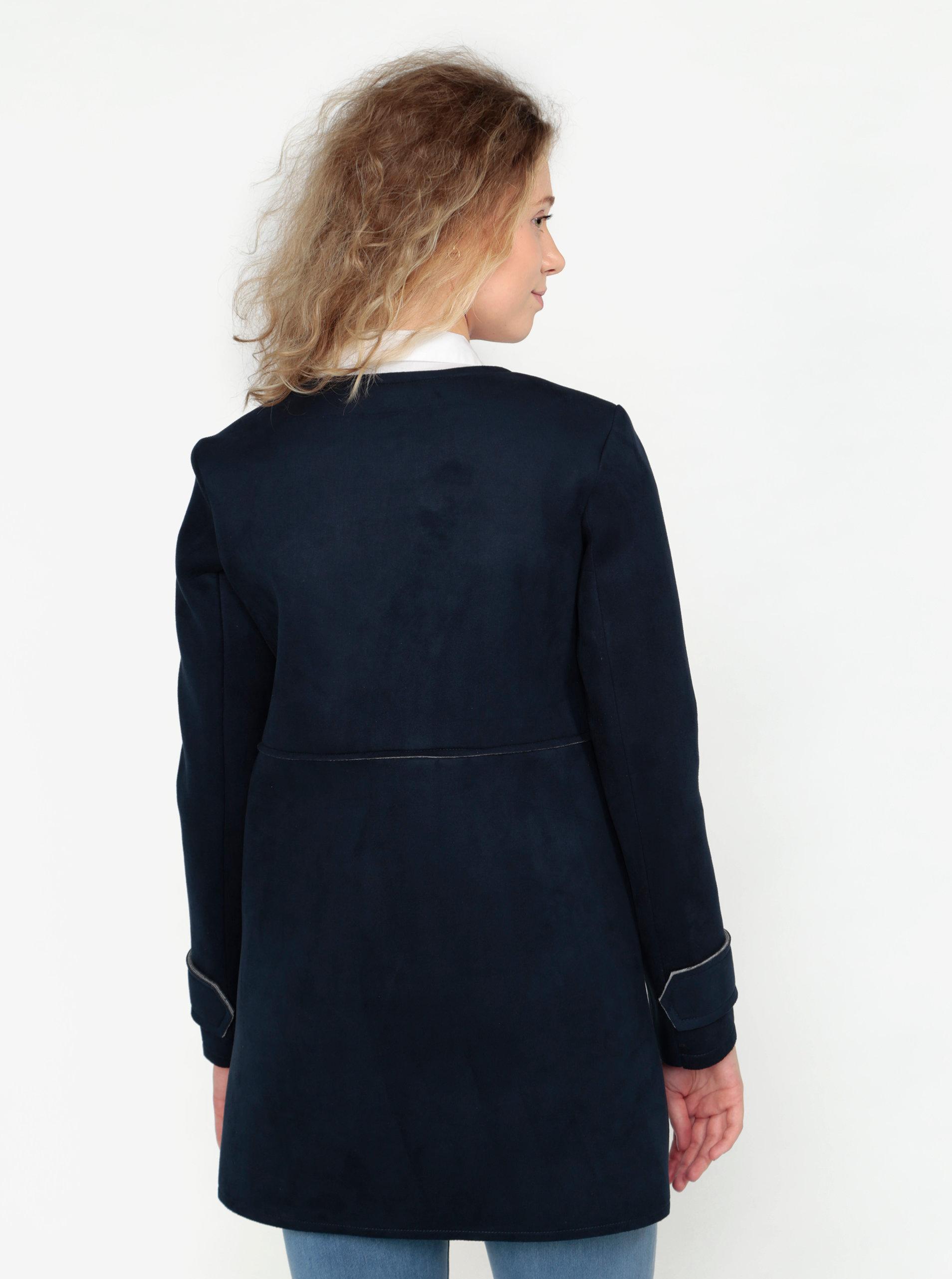 Tmavě modrý kabát v semišové úpravě ZOOT ... 76bfa79ccf8