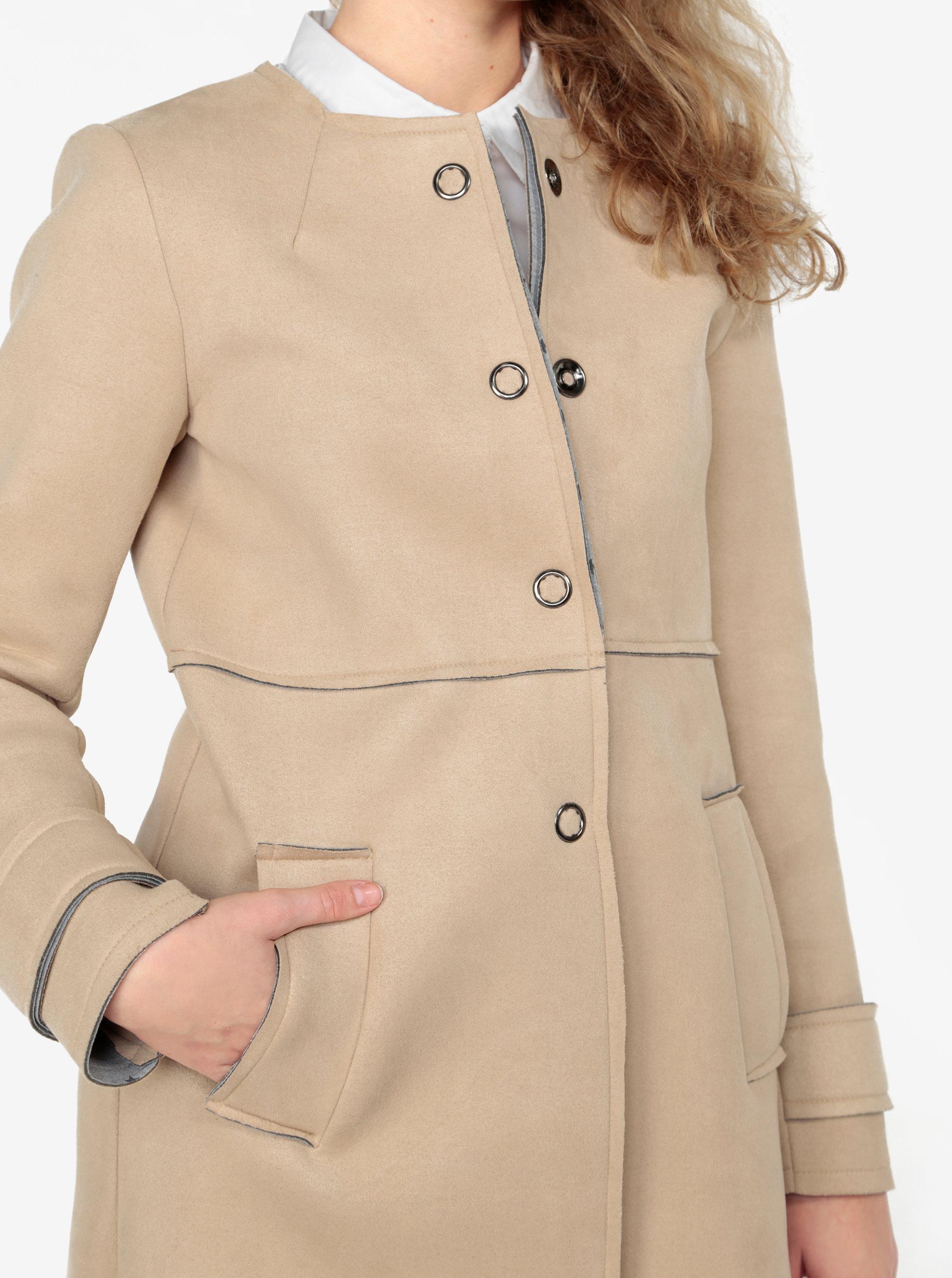 Béžový kabát v semišové úpravě ZOOT ... ad3bcc3a5c1