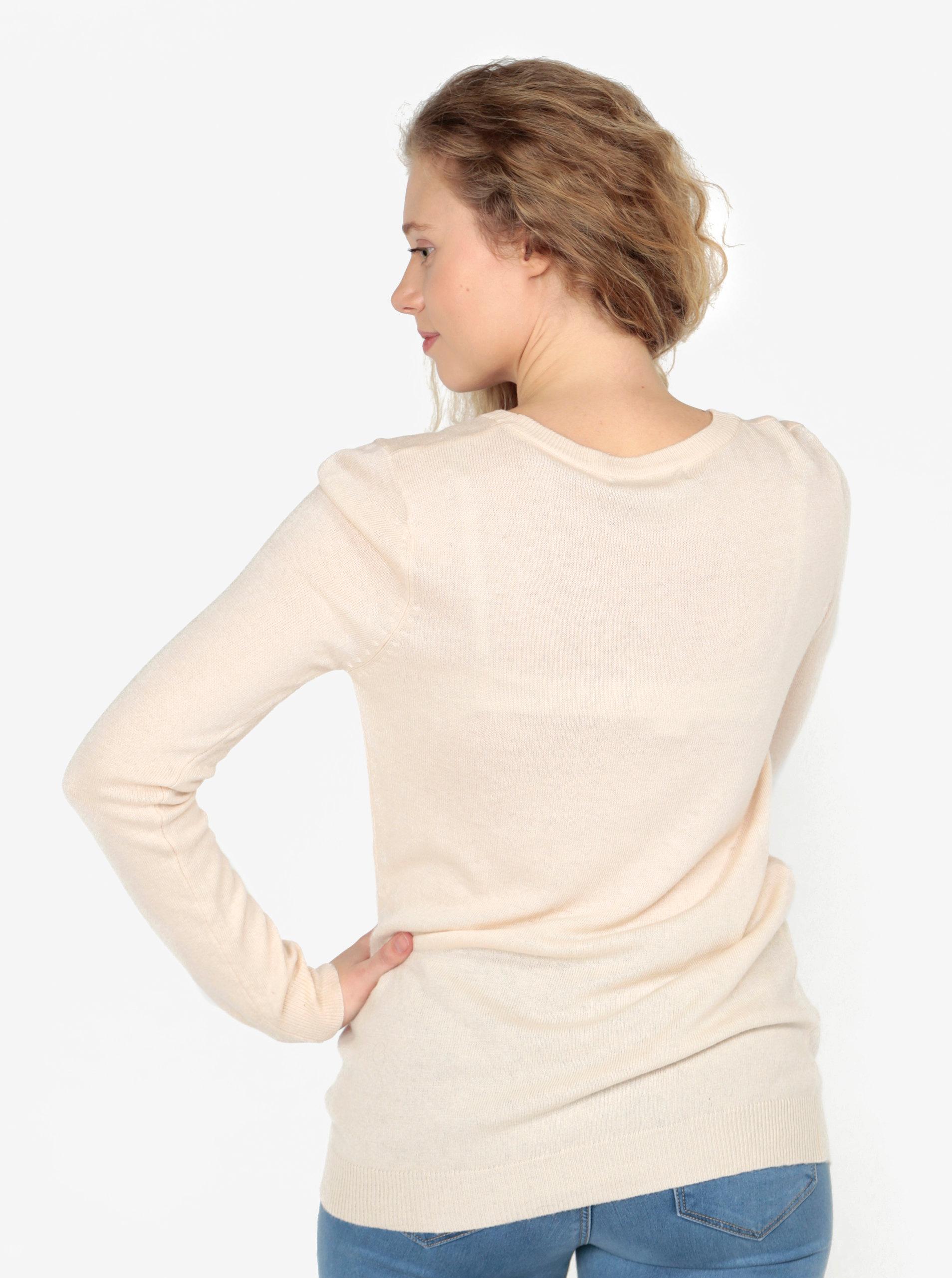 Béžový lehký svetr s motivem jelena z flitrů Oasis Xmas ... 5a6297f522