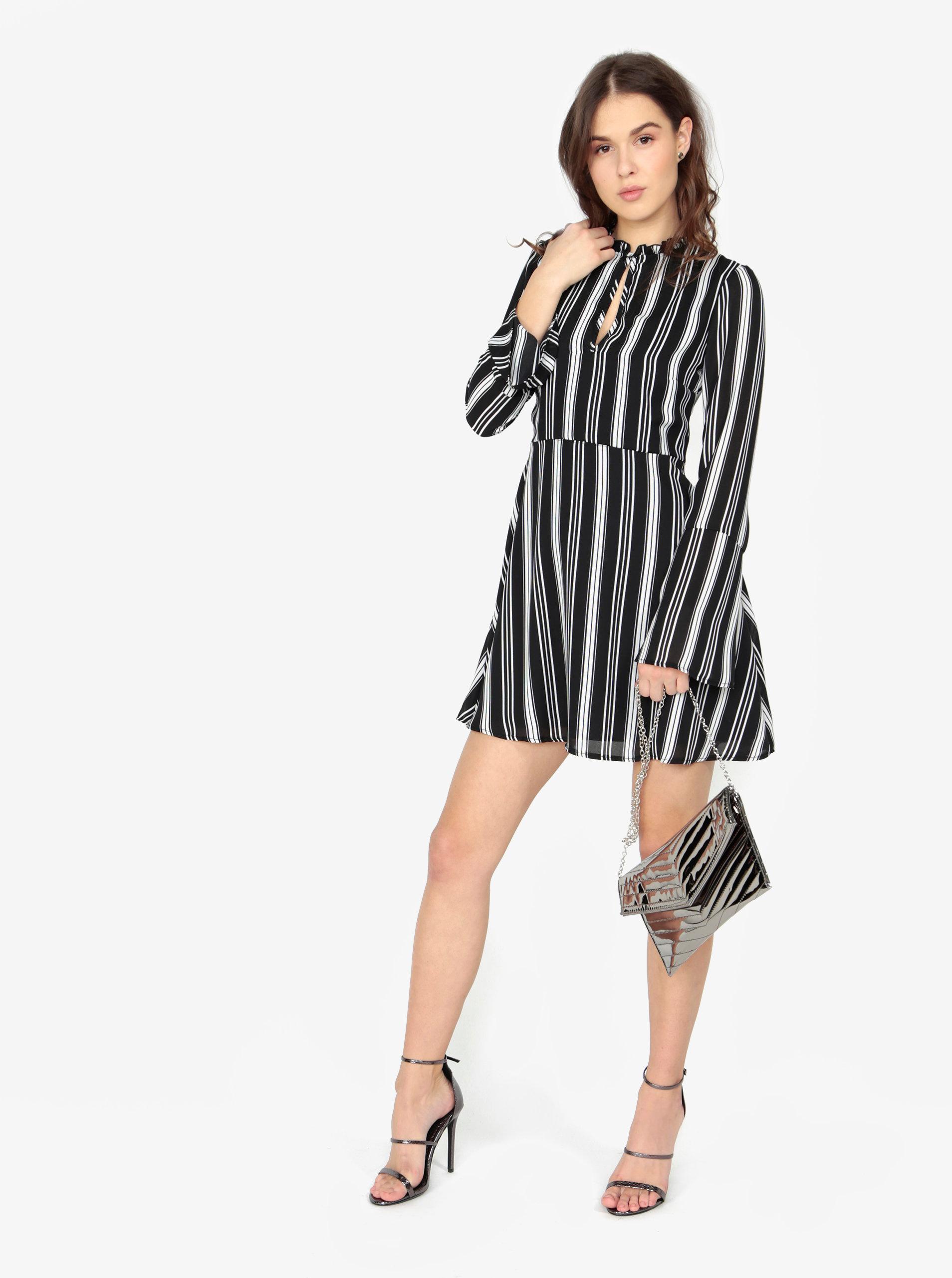 062cc20f465a Černé pruhované šaty s dlouhým rukávem MISSGUIDED ...