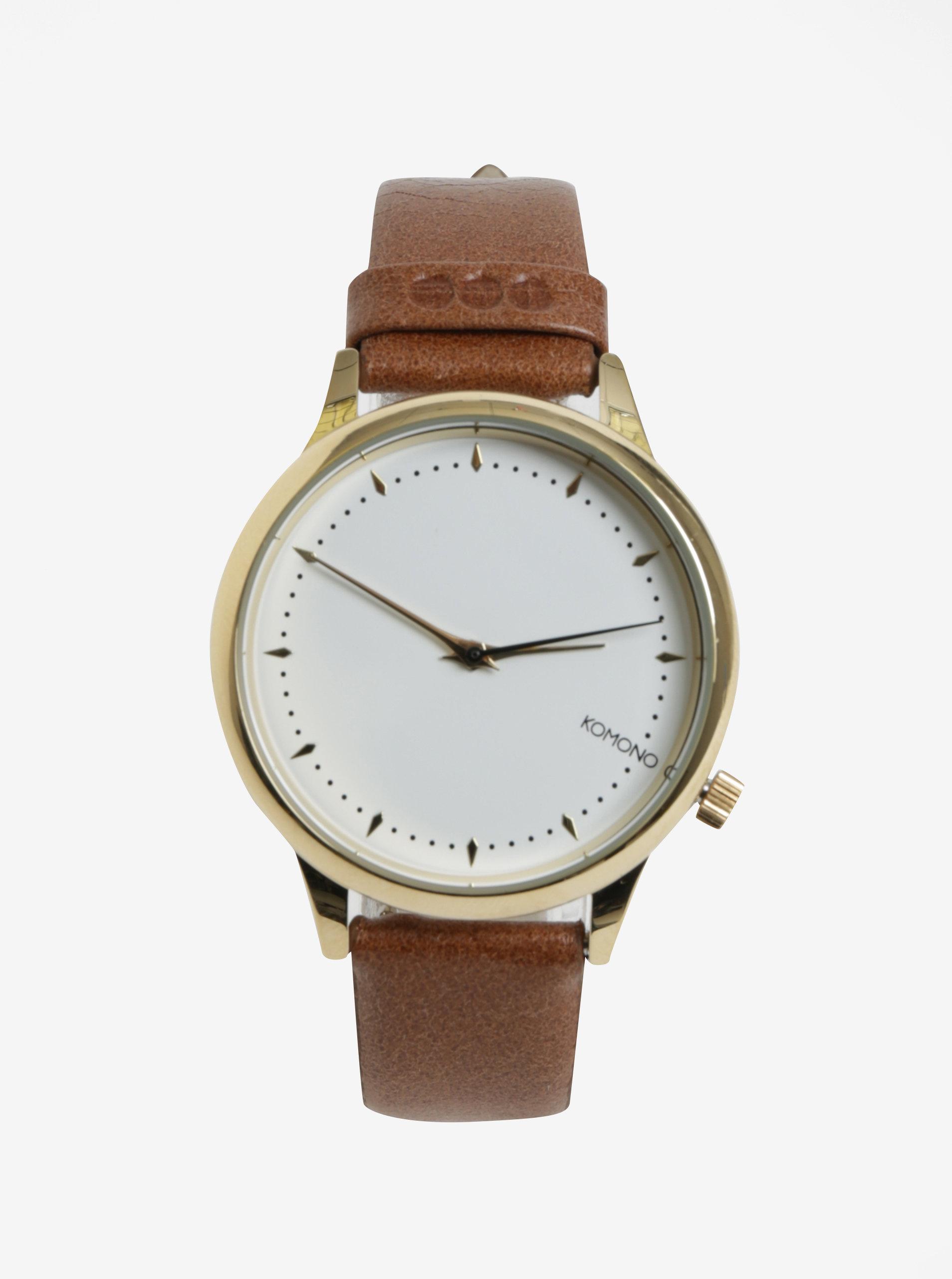 Bílo-černé dámské hodinky s kovovým páskem Komono Estelle Royale ... e40d04cdcd
