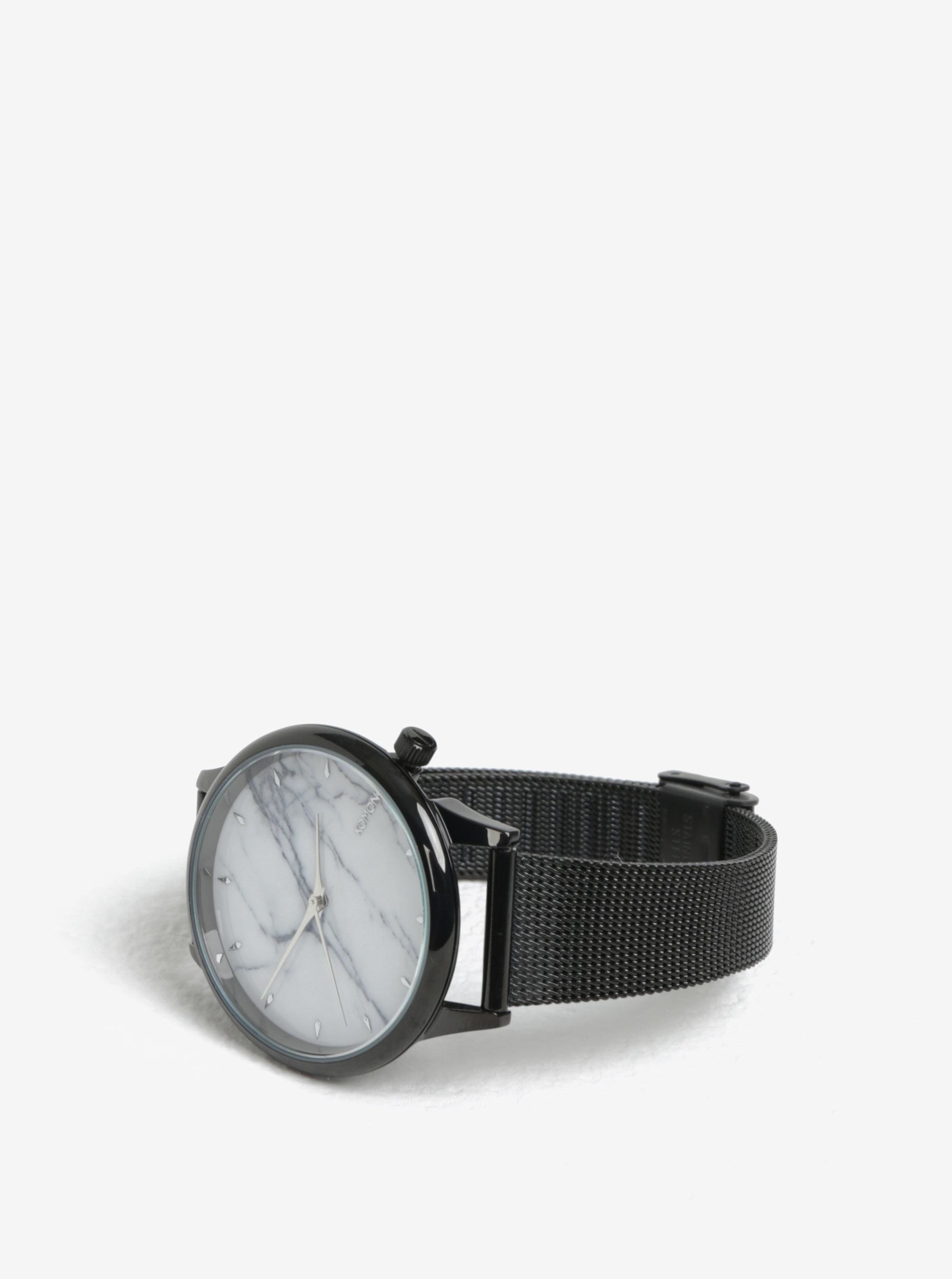 Dámske hodinky s čierným remienkom a mramorovaným ciferníkom Komono Estelle  Royale ... e7eb6b4d98c