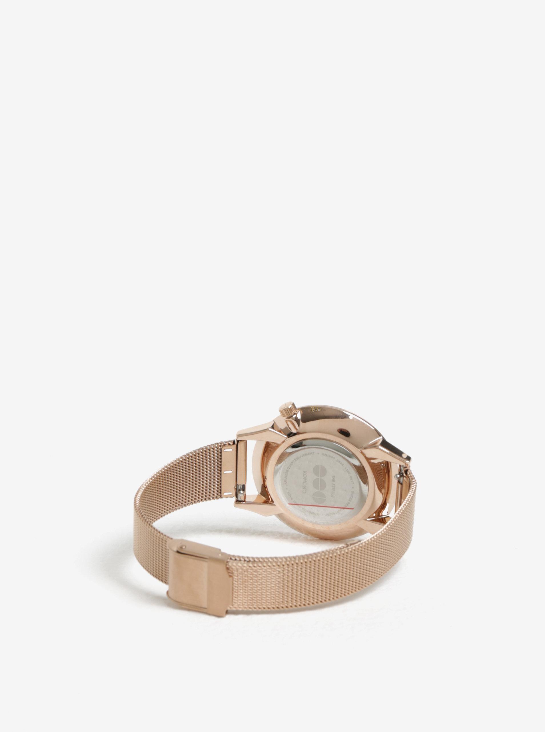 aad2c0396e0 Dámské hodinky v růžovozlaté barvě s mramorovaným ciferníkem Komono Estelle  Royale ...