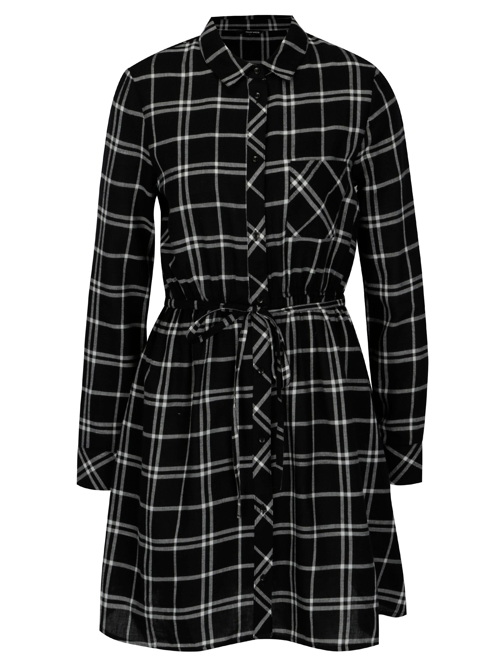 c460087599ce Černo-bílé kostkované košilové šaty TALLY WEiJL ...