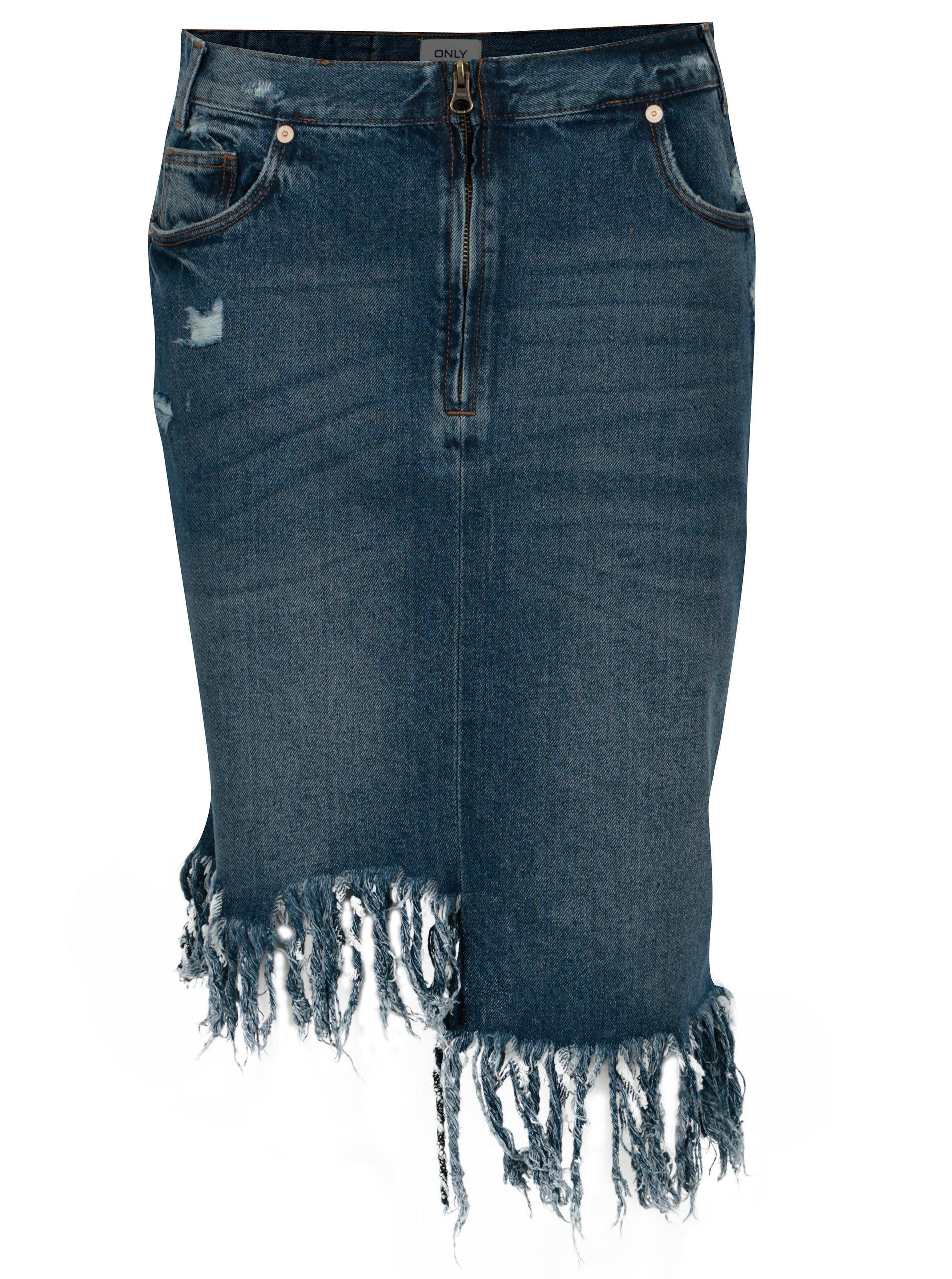 Modrá asymetrická džínová sukně s třásněmi ONLY Summer ... 043412082e