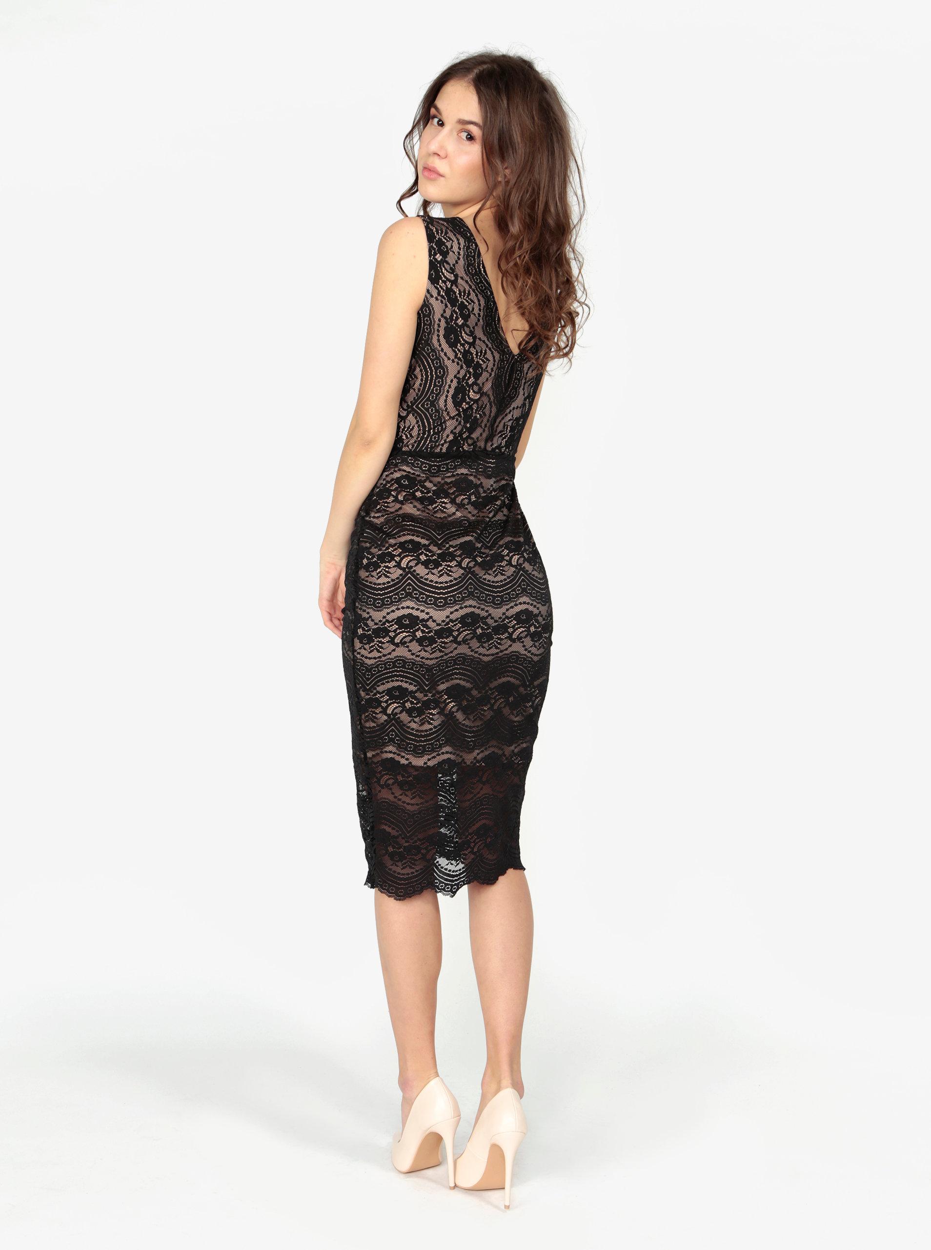 Béžovo-černé pouzdrové krajkové šaty Oasis Sexy ... 28a0dedda1