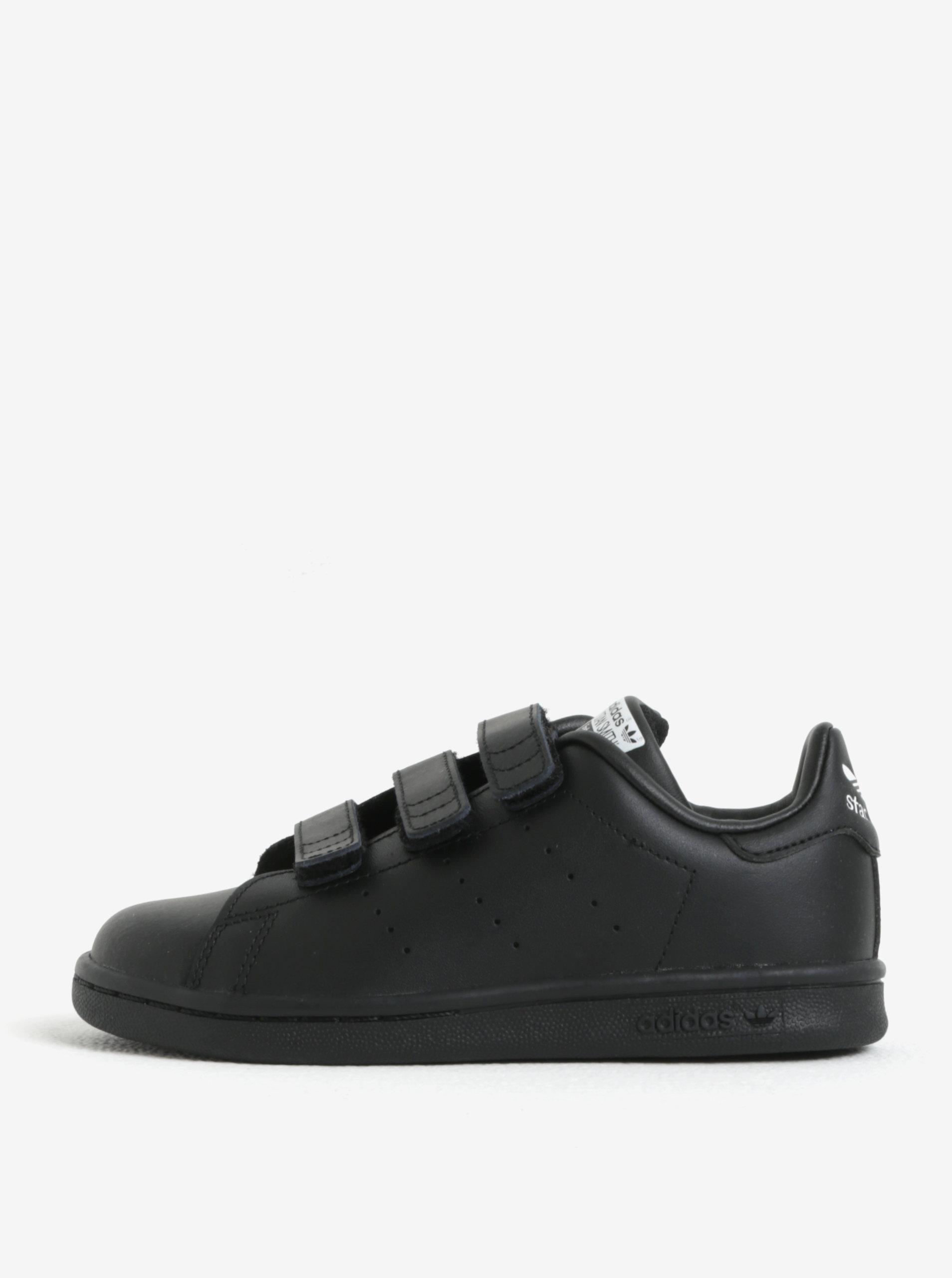 587a8013fe7 Čierne detské kožené tenisky na suchý zips adidas Originals ...