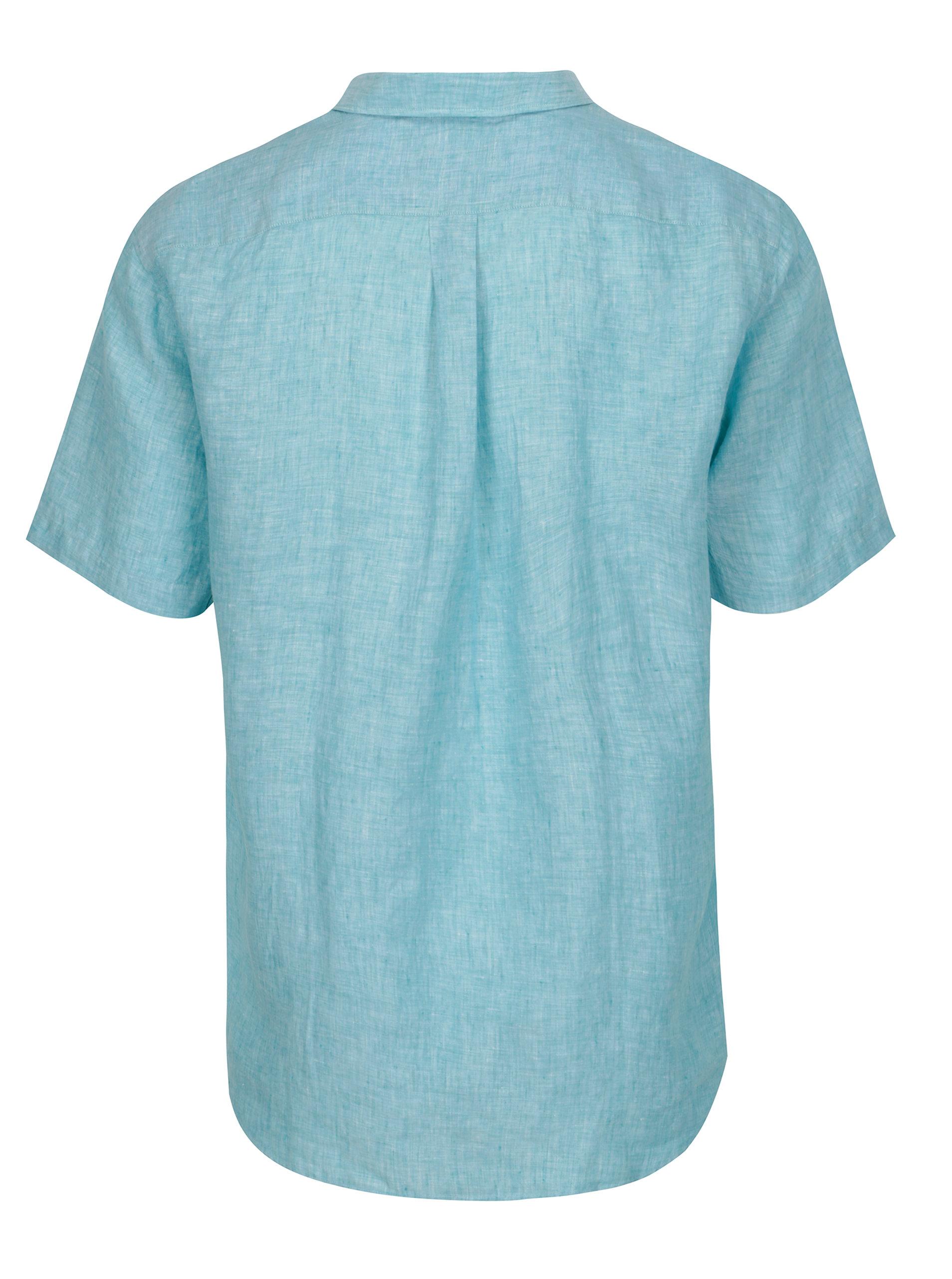 Světle modrá lněná casual fit košile Fynch-Hatton ... 5f02070293