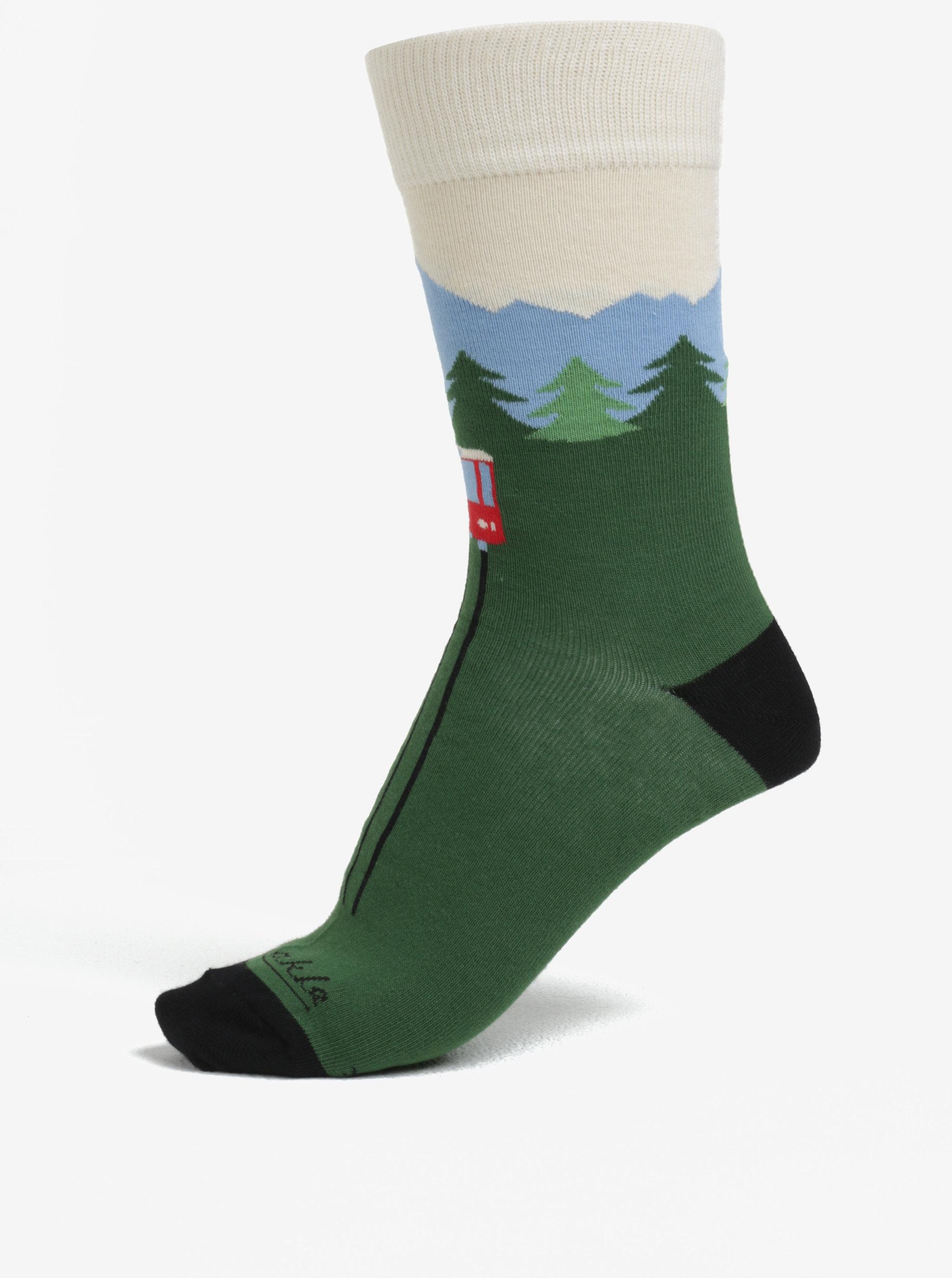 a2b25b39605 Tmavě zelené unisex ponožky s motivem lanovky Fusakle Hrebienok ...