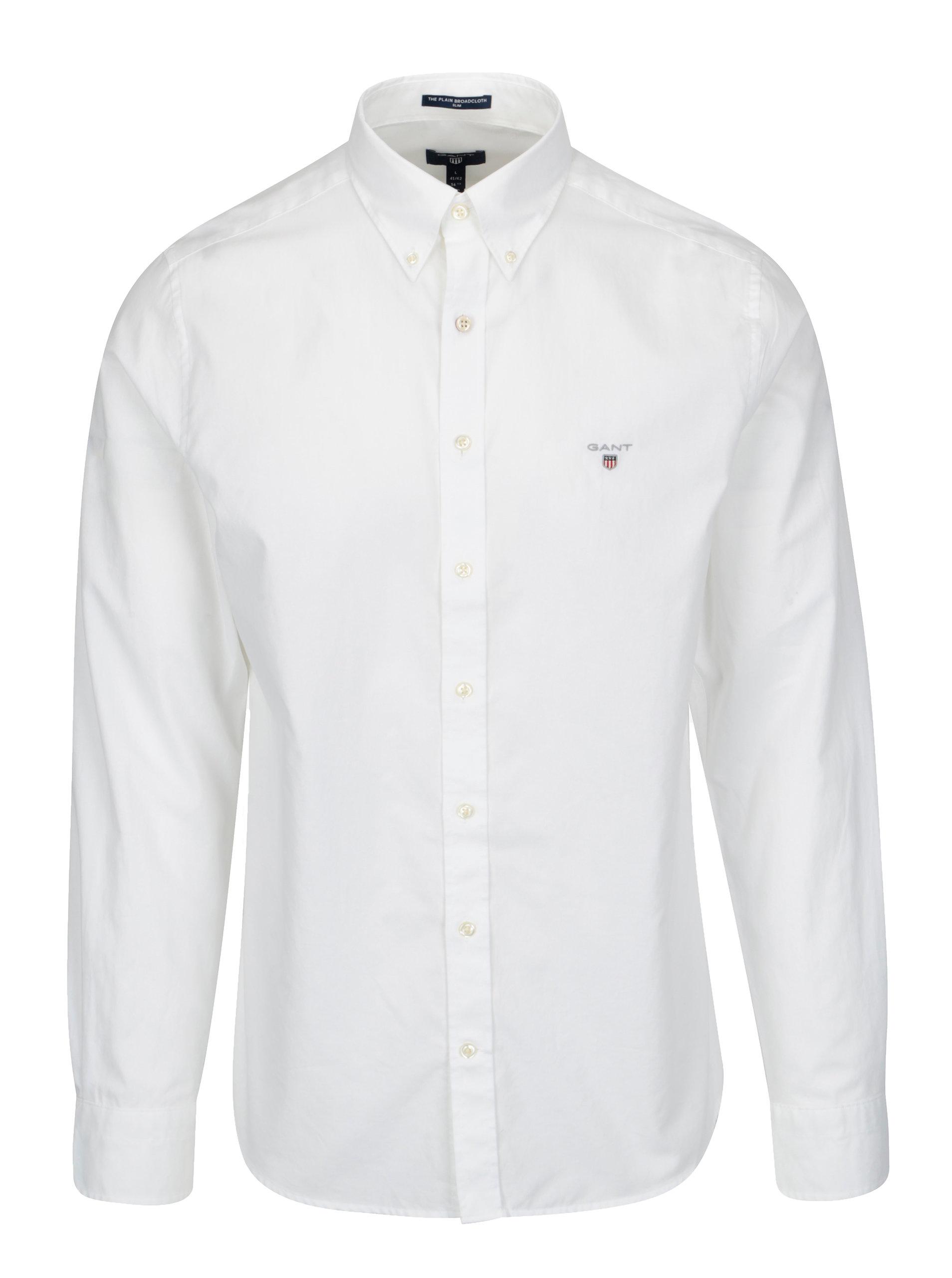 6d30a95071 Biela pánska slim košeľa GANT ...
