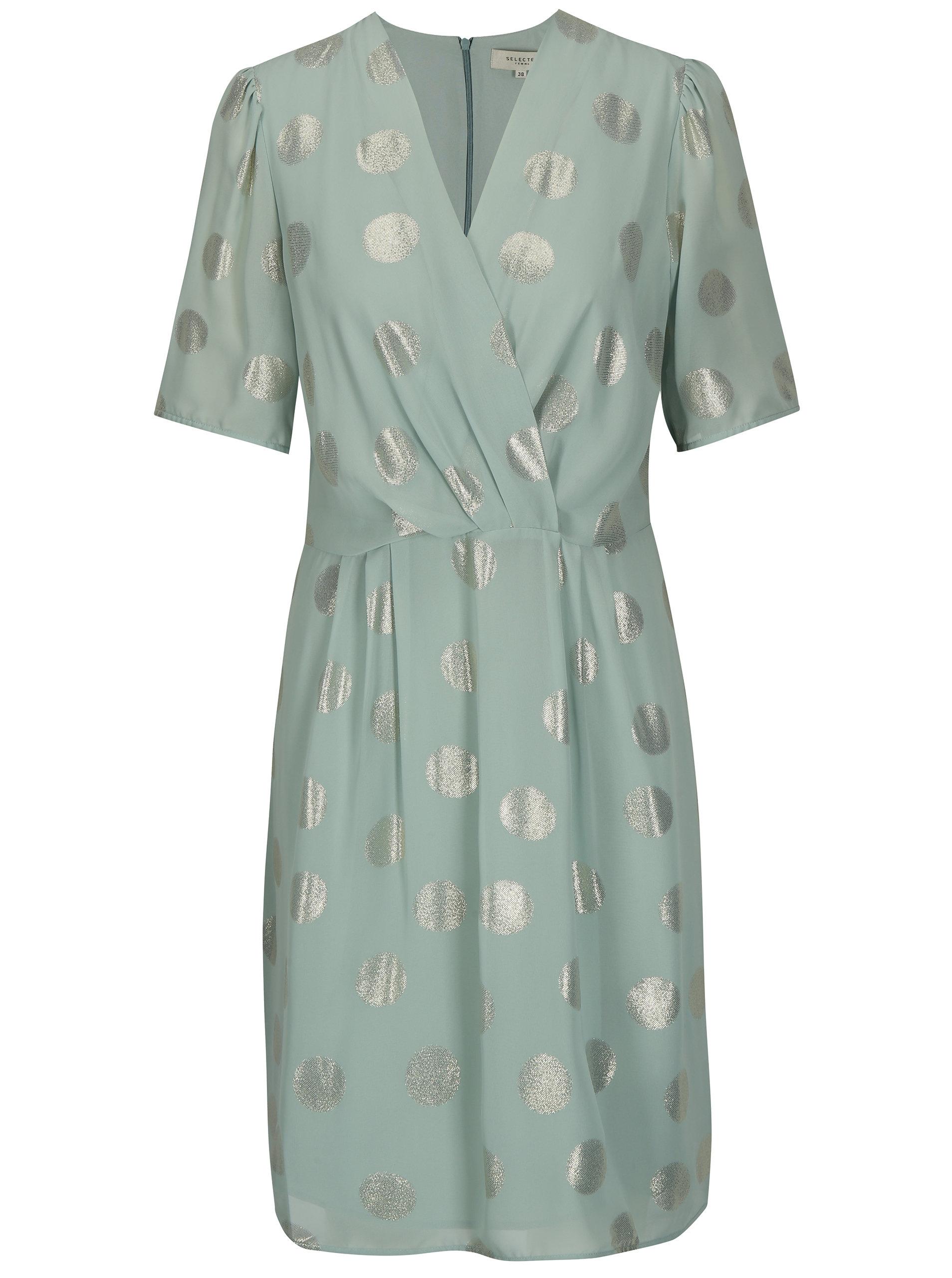 5c08b9e0ab06 Mentolové bodkované šaty Selected Femme Valora ...