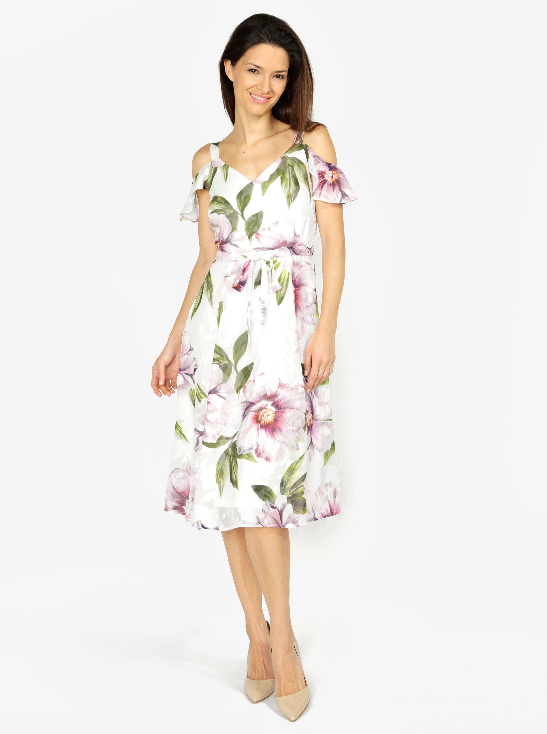 d2b361240b3a Krémové kvetované šaty s odhalenými ramenami M Co ...