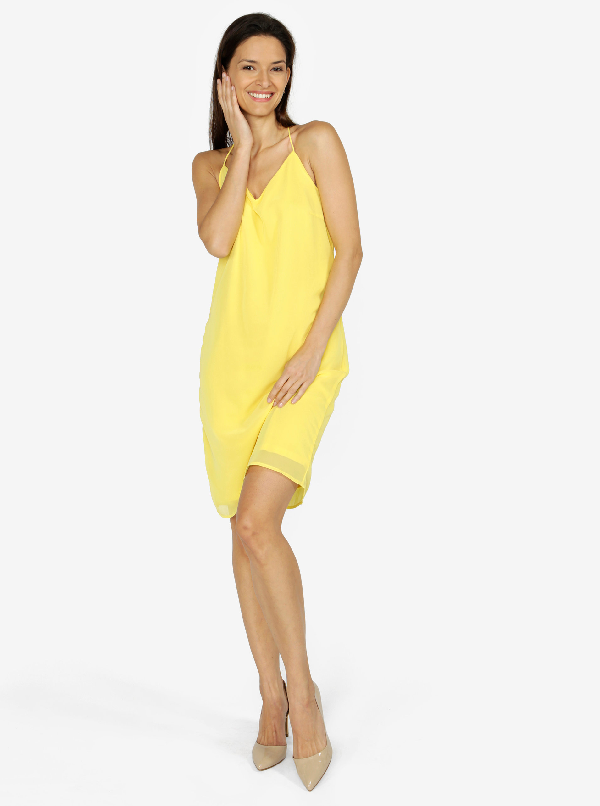 Žlté šaty na ramienka VERO MODA Diana ... e2cab19e50c