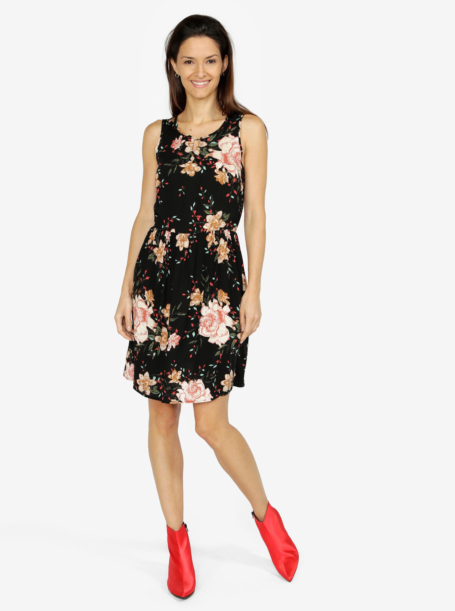 Černé vzorované šaty VERO MODA Simply ... a53d88a9778