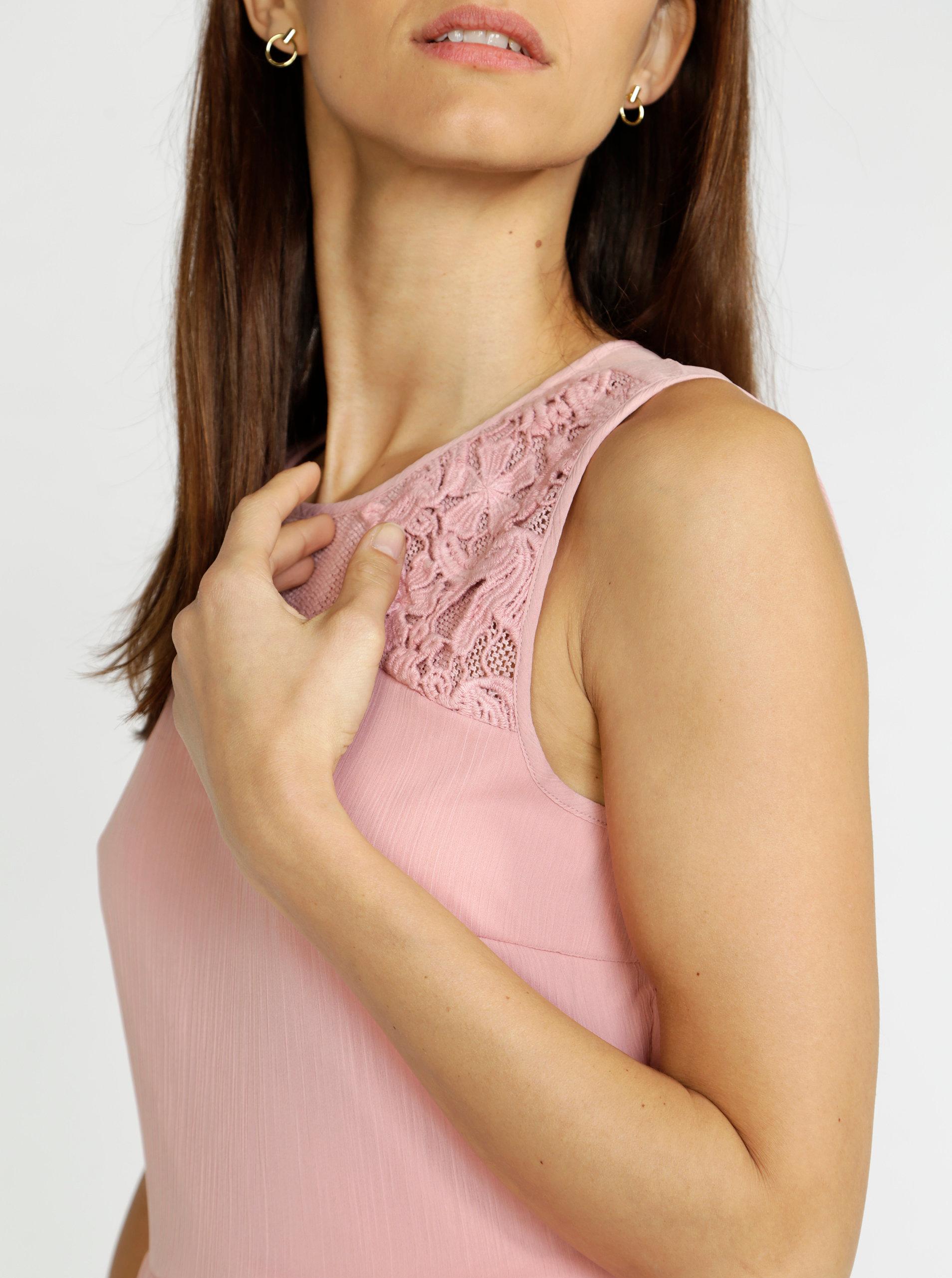 fd68fe7f47e Růžové šaty s krajkou VERO MODA Dacey ...