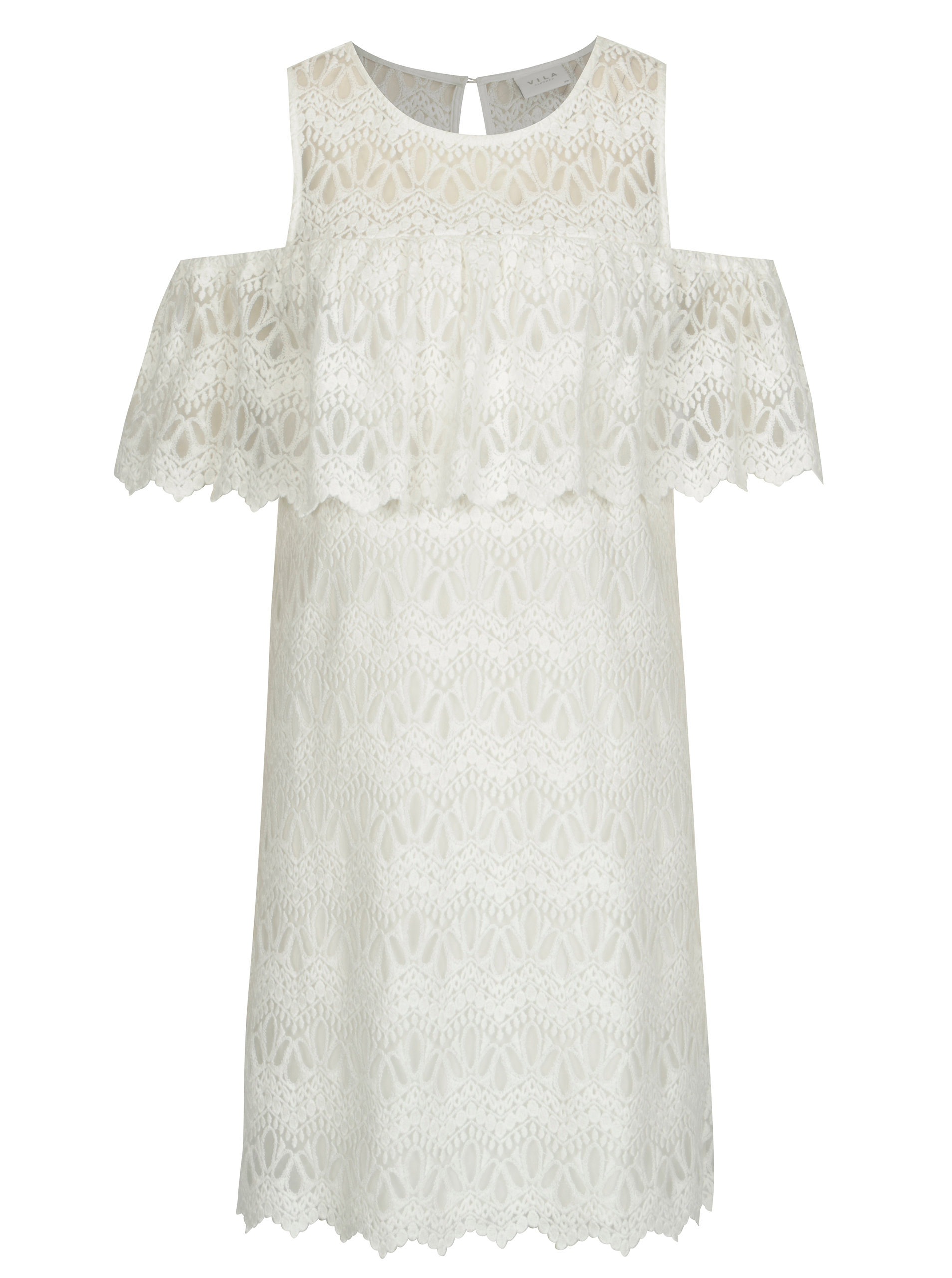 4fb813b42983 Krémové čipkované šaty s prestrihmi na ramenách VILA Winstock ...