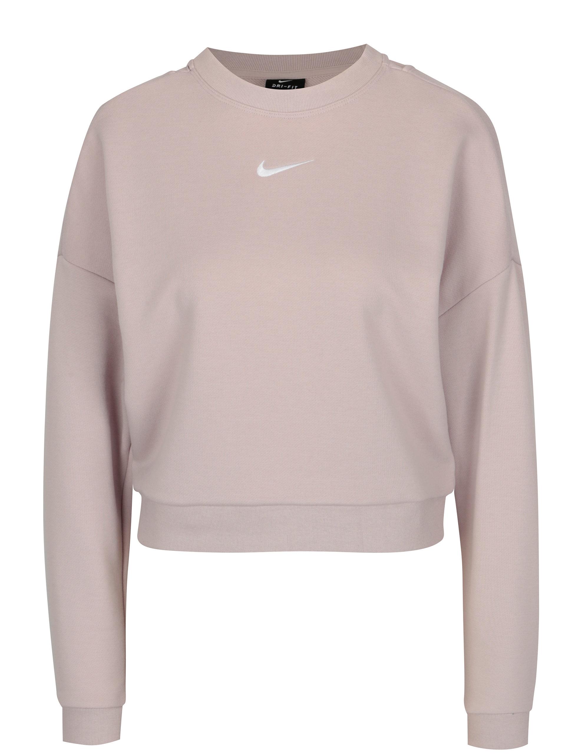 ea18f1b5a90 Růžová dámská funkční crop mikina Nike CREWNECK CROP ...