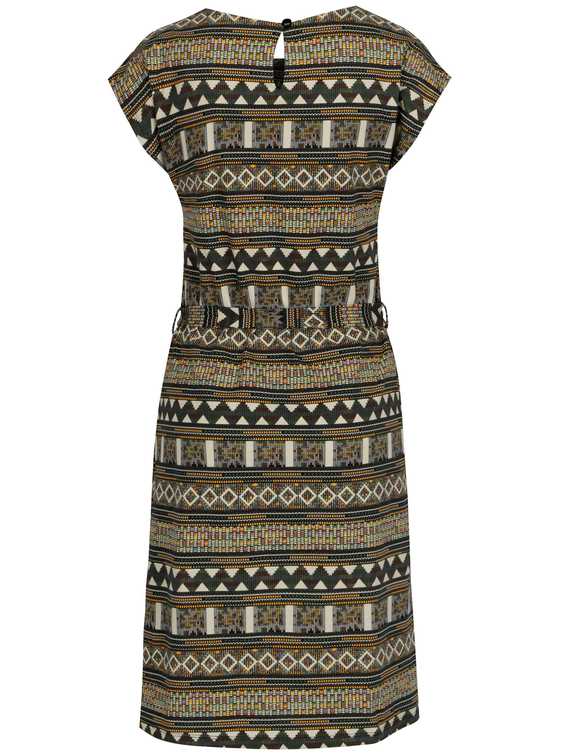 922844ab8908 Béžové vzorované šaty s páskem Smashed Lemon ...