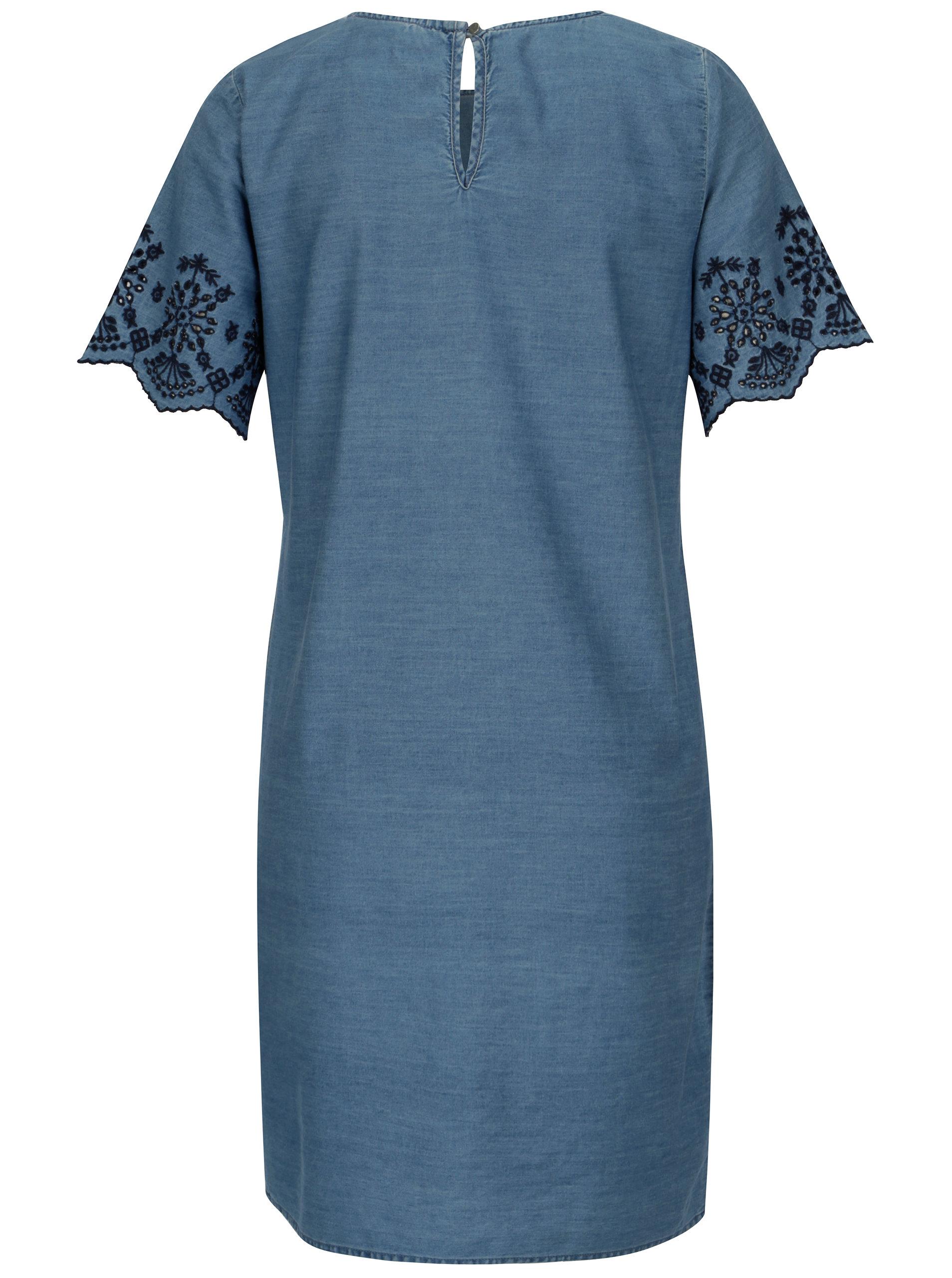 32b8b0b1596b Modré džínové šaty s krátkým rukávem a krajkou Dorothy Perkins ...
